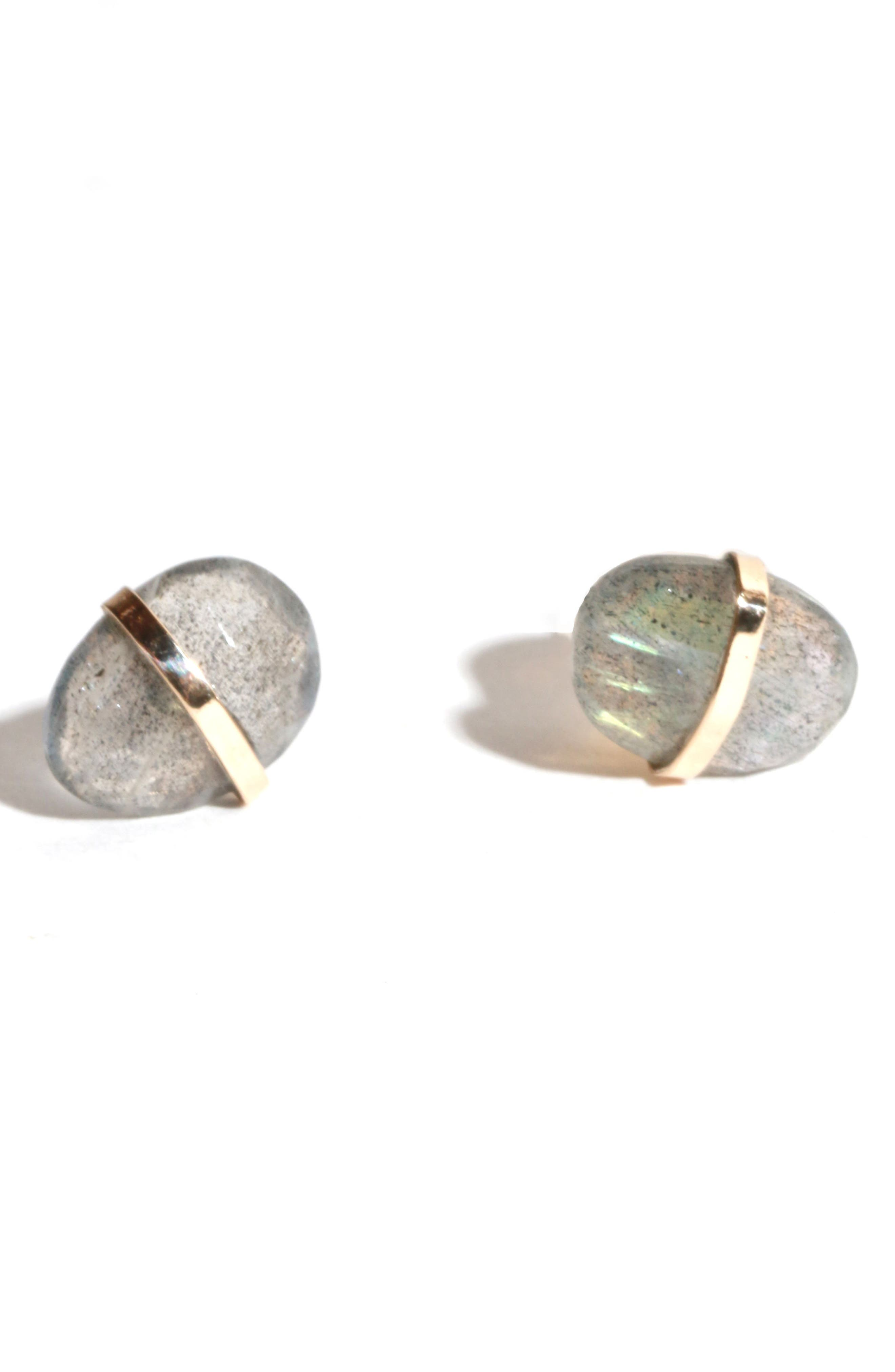 Wrapped Labradorite Stud Earrings,                         Main,                         color, Yellow Gold