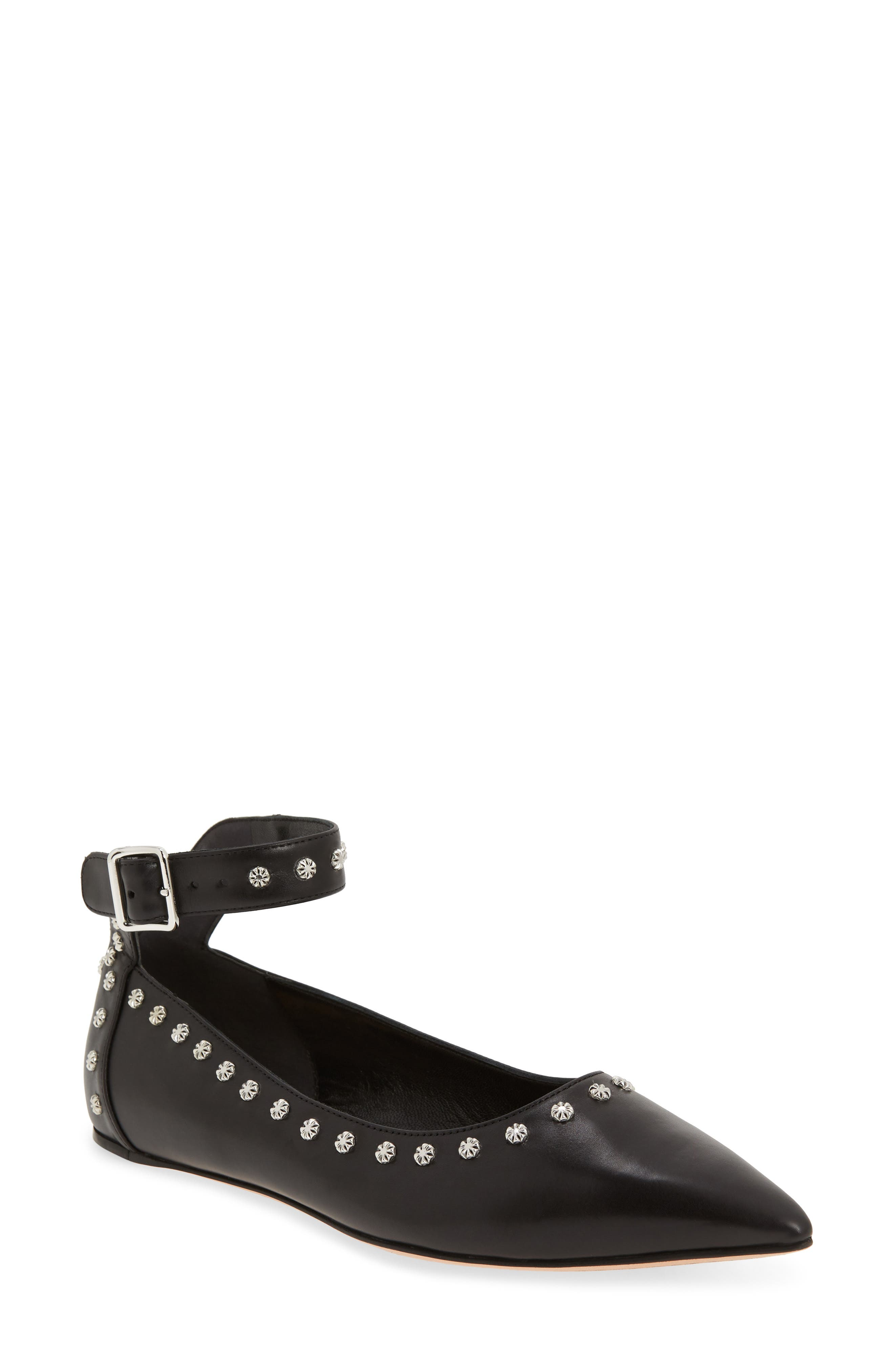 Studded Ankle Strap Flat,                             Main thumbnail 1, color,                             Black