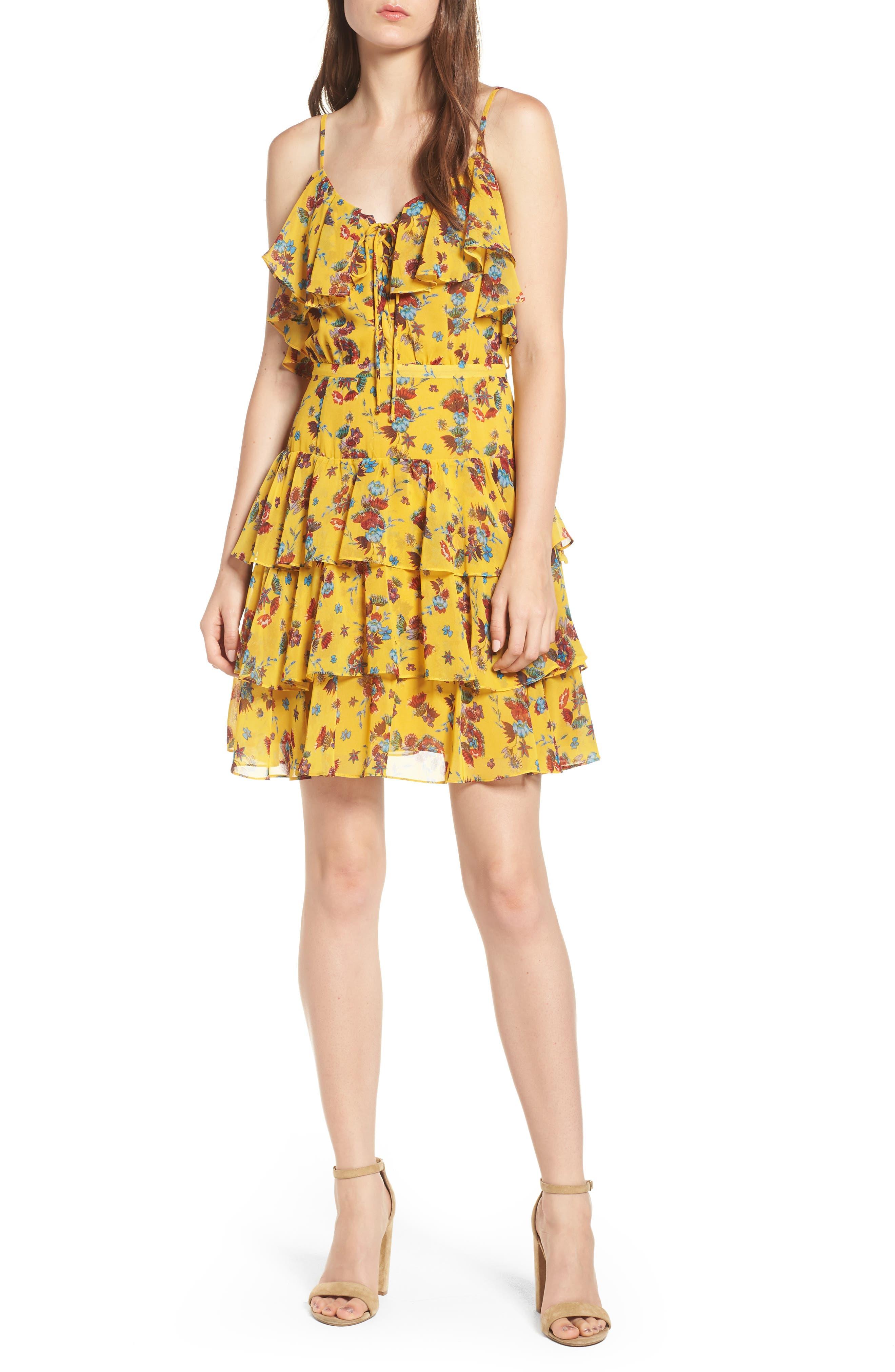 Marla Dress,                             Main thumbnail 1, color,                             Yellow Multi