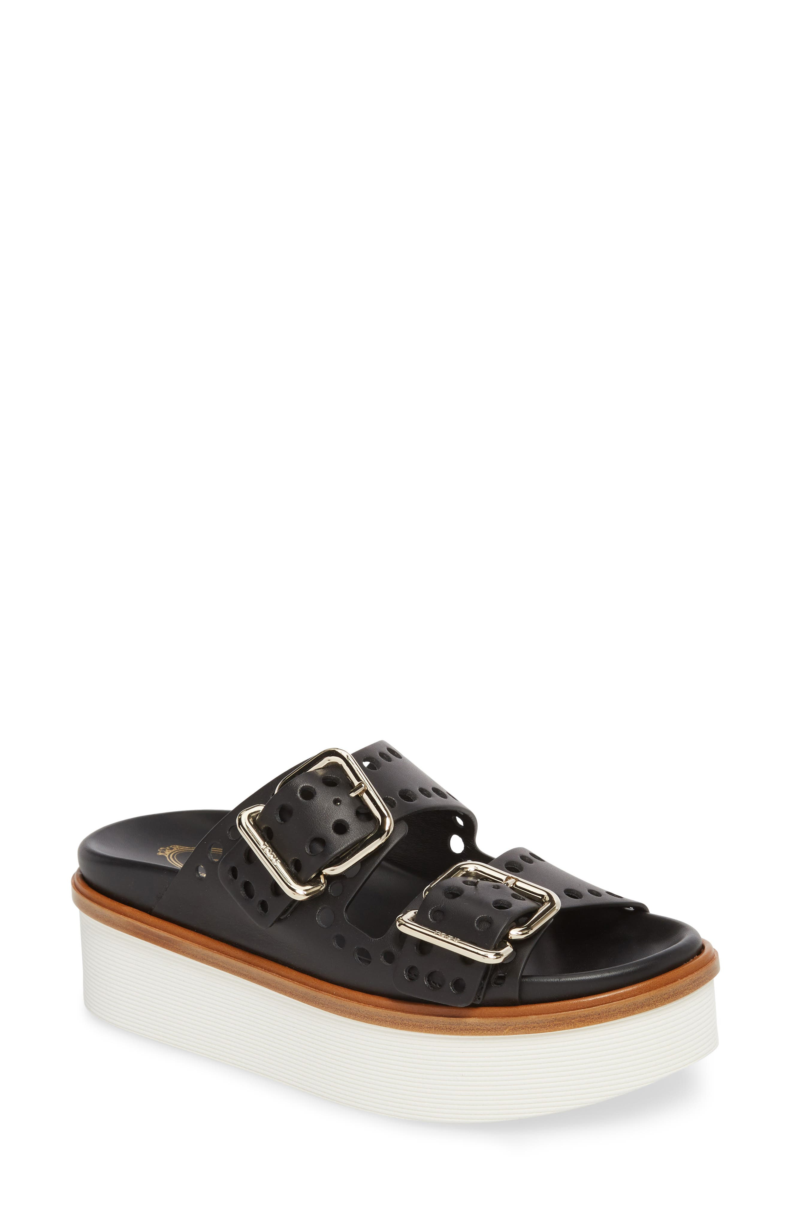 Perforated Platform Slide Sandal,                             Main thumbnail 1, color,                             Black