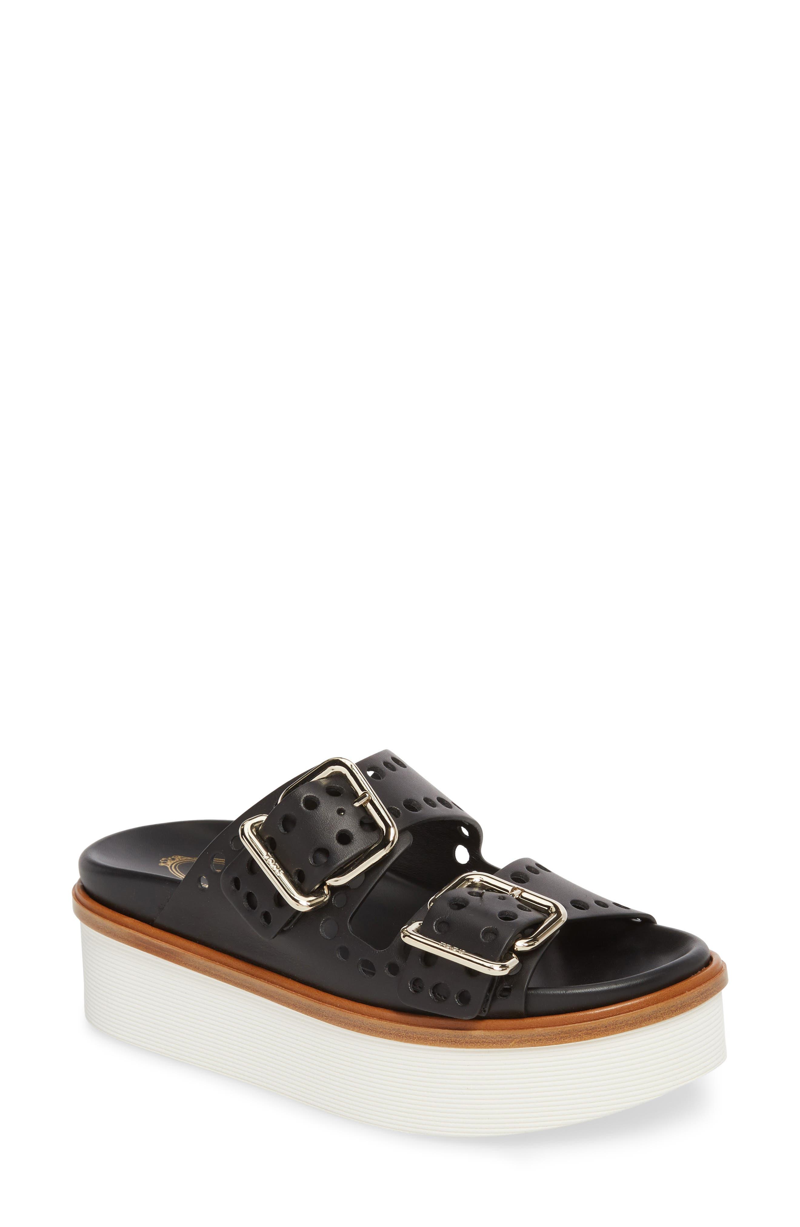 Perforated Platform Slide Sandal,                         Main,                         color, Black