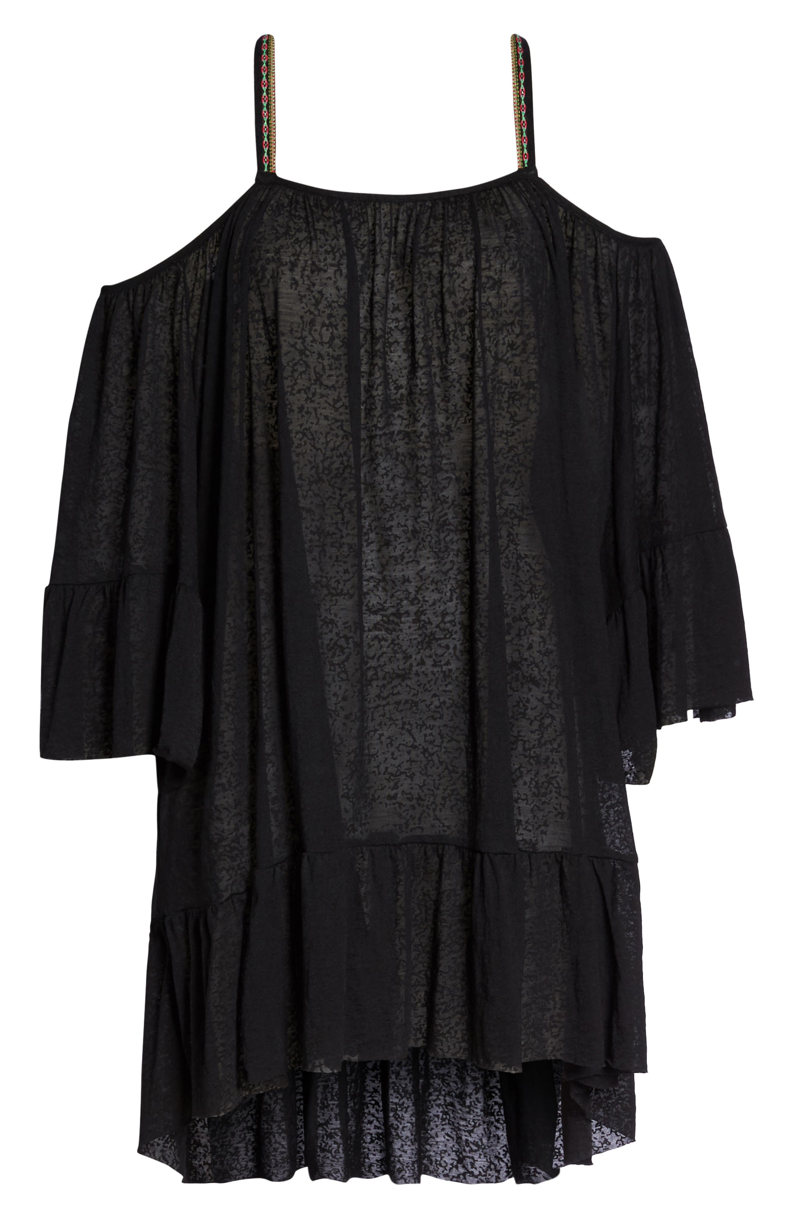 Dancing Cover-Up Dress,                             Alternate thumbnail 6, color,                             Black