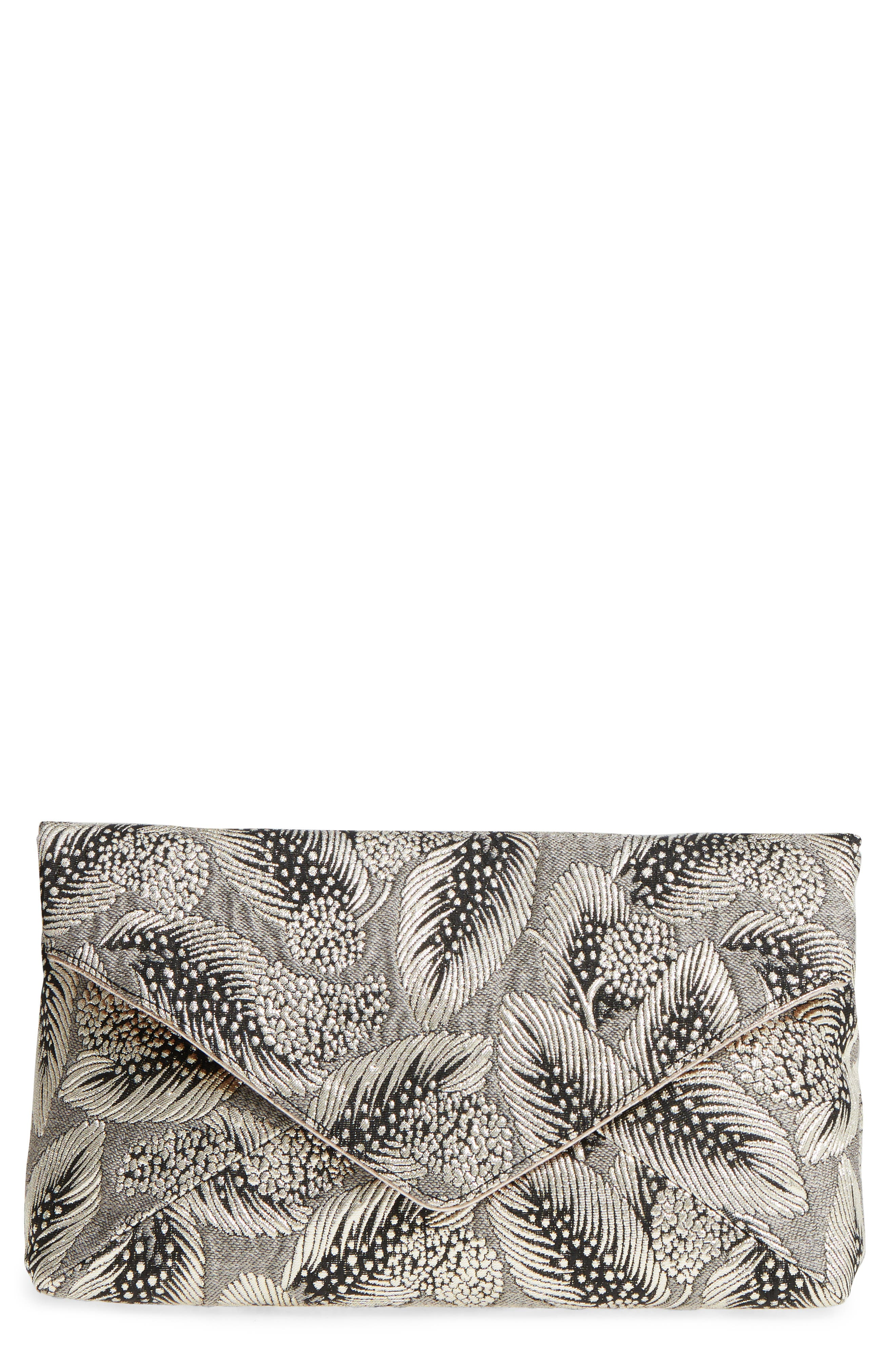 Dries Van Noten Metallic Feather Envelope Clutch