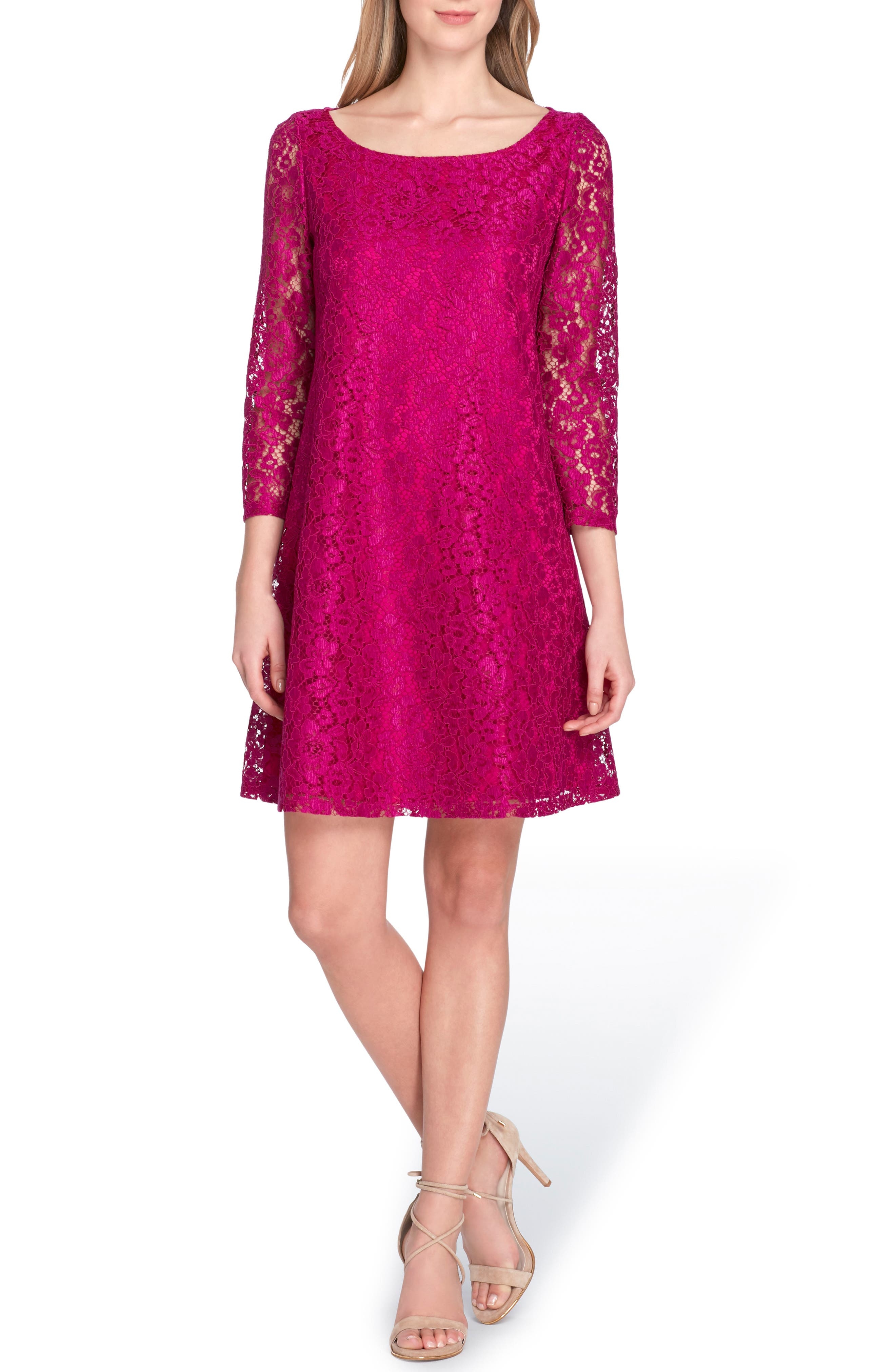 Lace Shift Dress,                             Main thumbnail 1, color,                             Fuchsia
