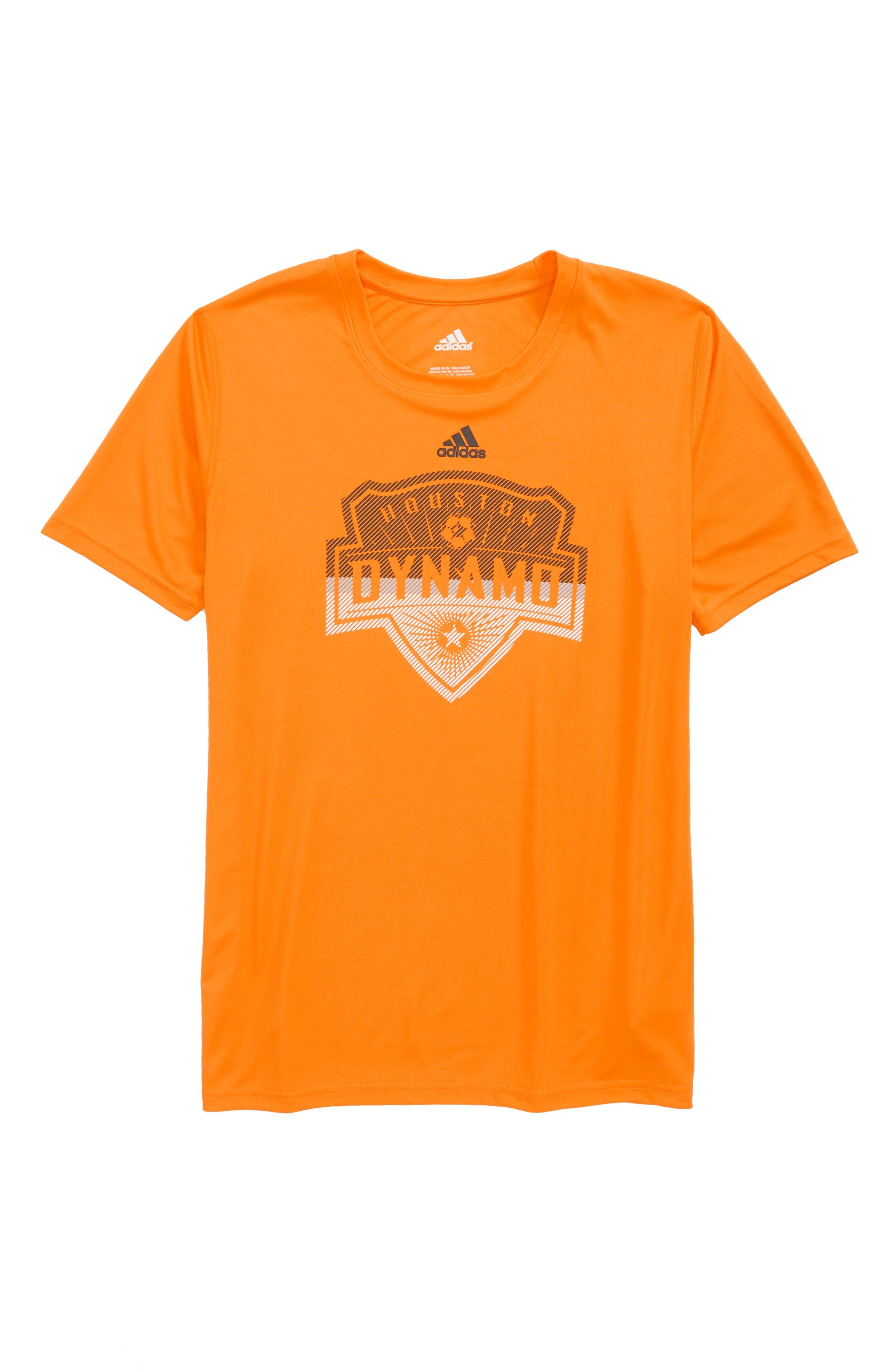 MLS Houston Dynamo Climalite<sup>®</sup> T-Shirt,                         Main,                         color, Orange