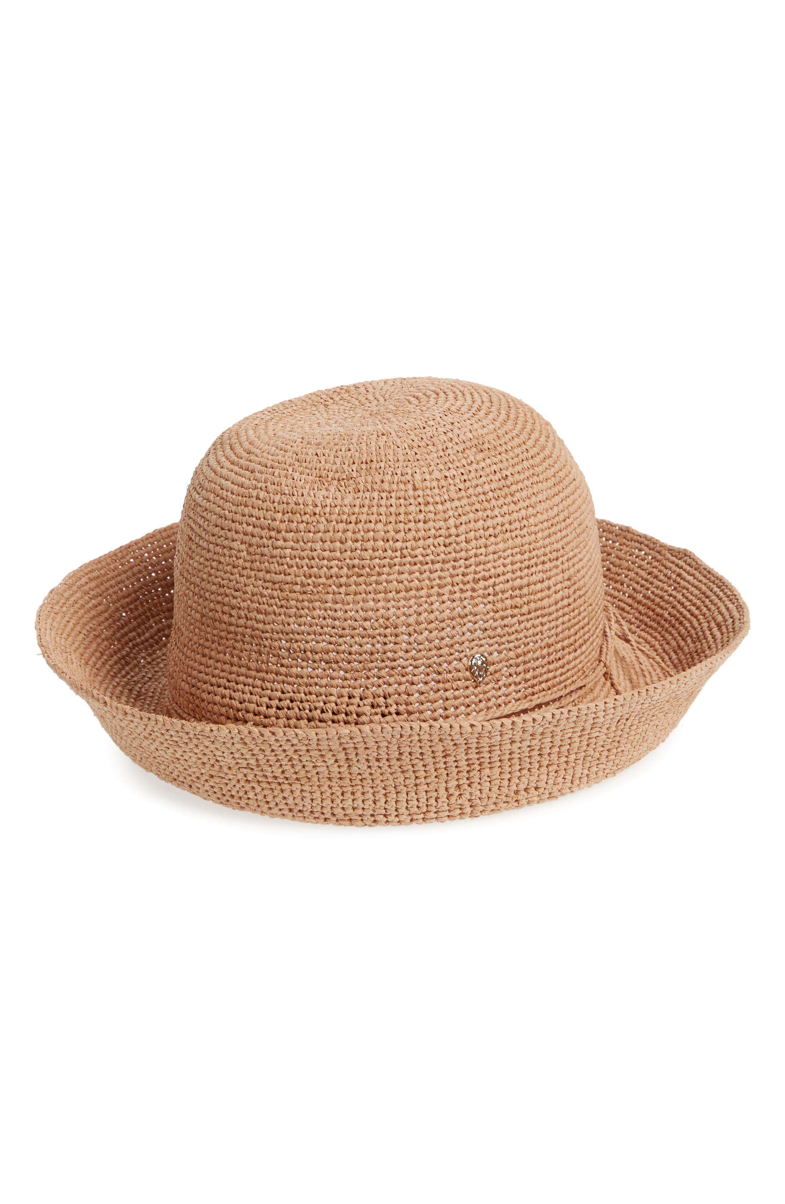 HELEN KAMINSKI CLASSIC UPTURN CROCHETED RAFFIA HAT - BROWN