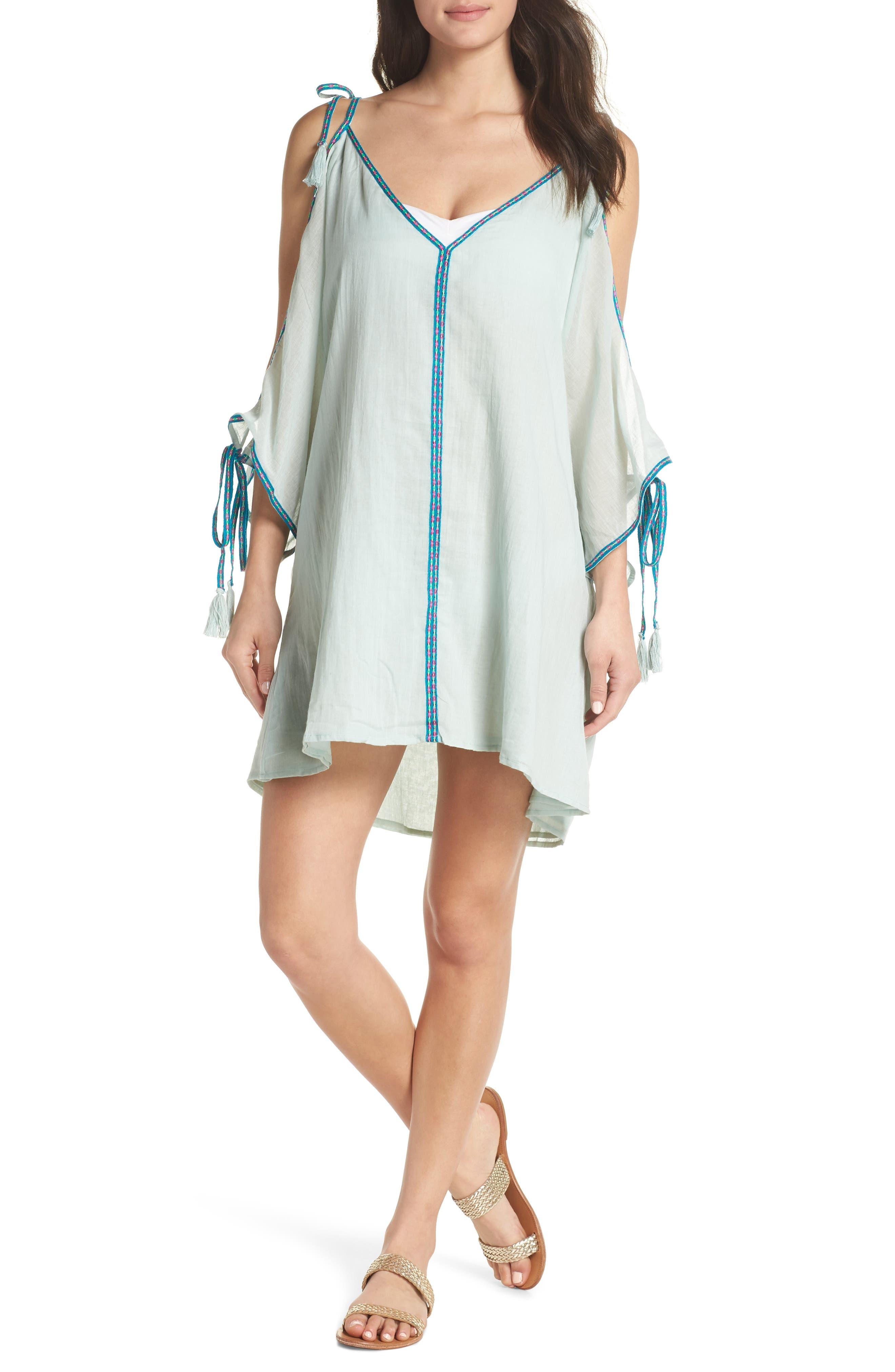 Mini Ottoman Cover-Up Dress,                         Main,                         color, Pale Blue