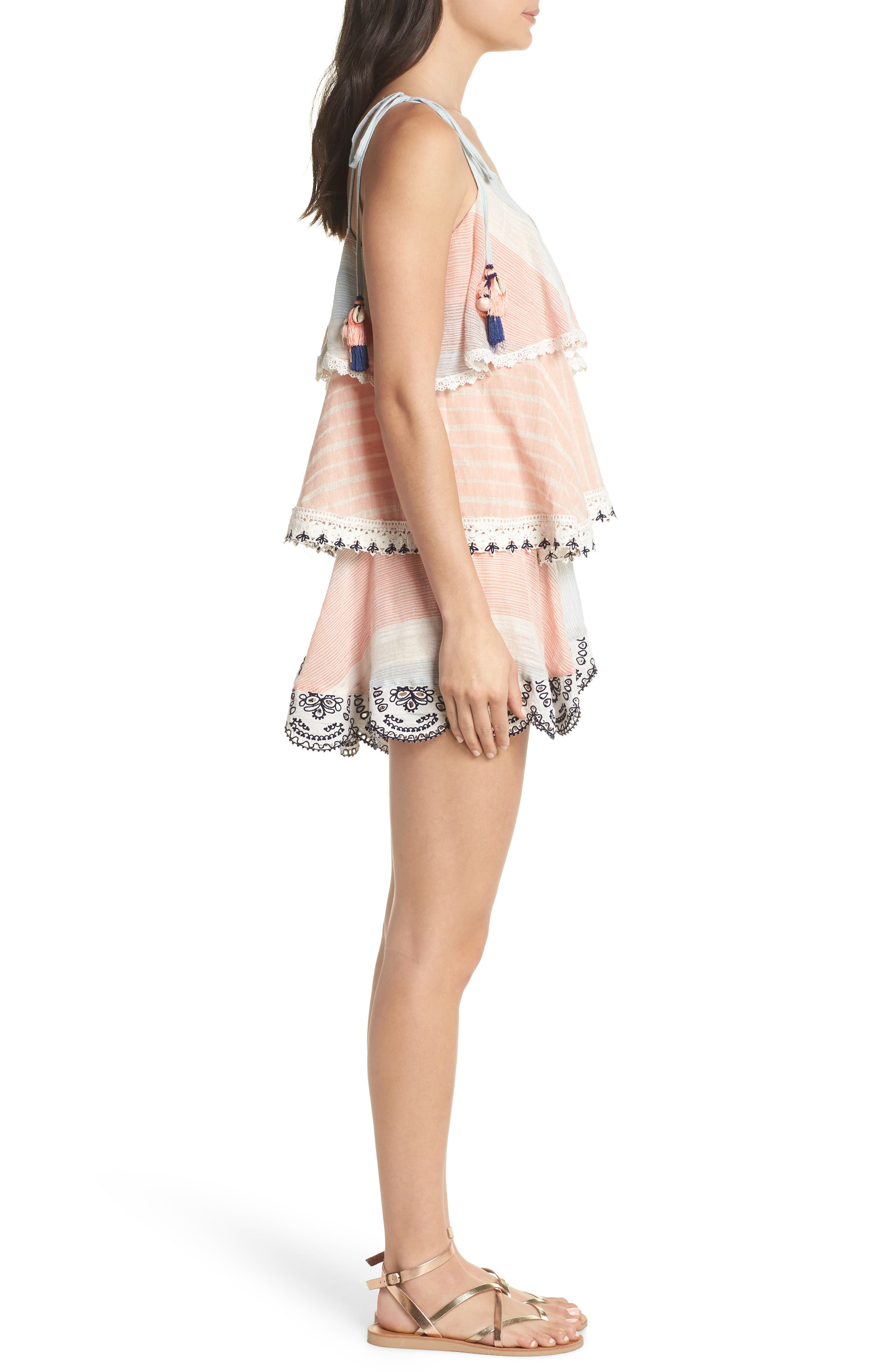 Hemant & Nandita Tiered Cover-Up Dress,                             Alternate thumbnail 3, color,                             Peach