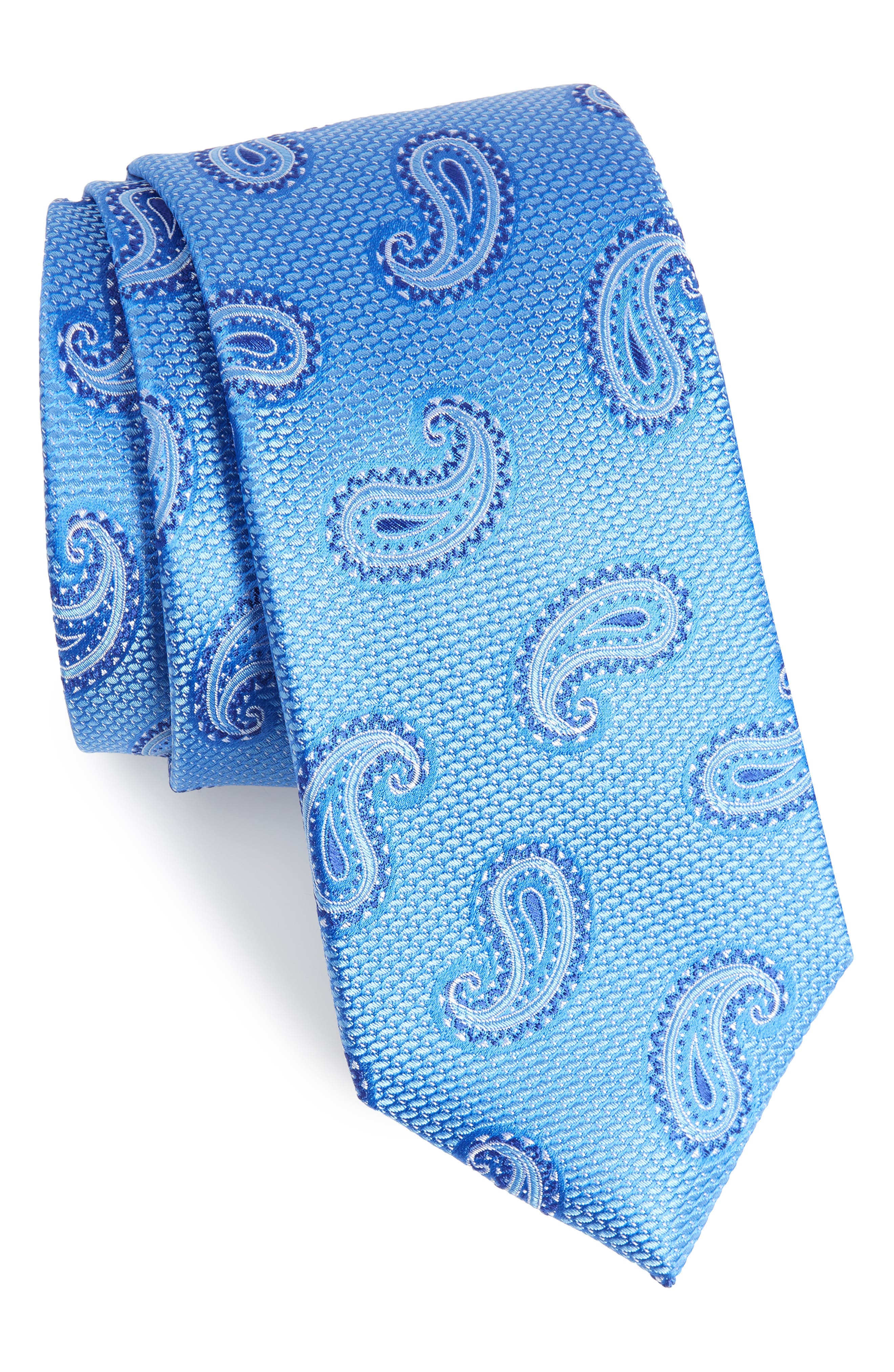 Jerome Paisley Silk Tie,                             Main thumbnail 1, color,                             French Blue