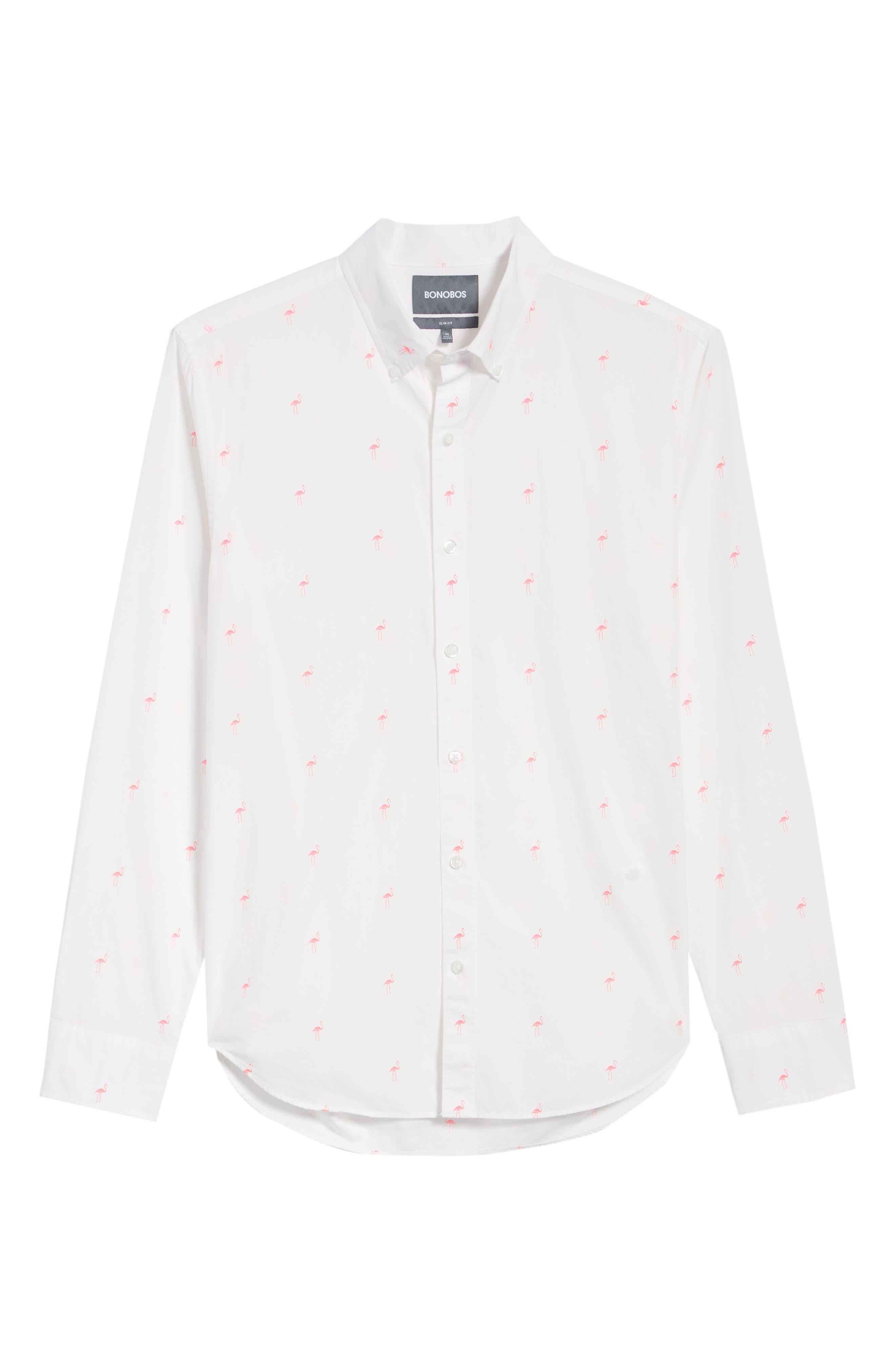 Summerweight Slim Fit Flamingo Print Sport Shirt,                             Alternate thumbnail 6, color,                             Flamingo Stamp - Knockout Pink