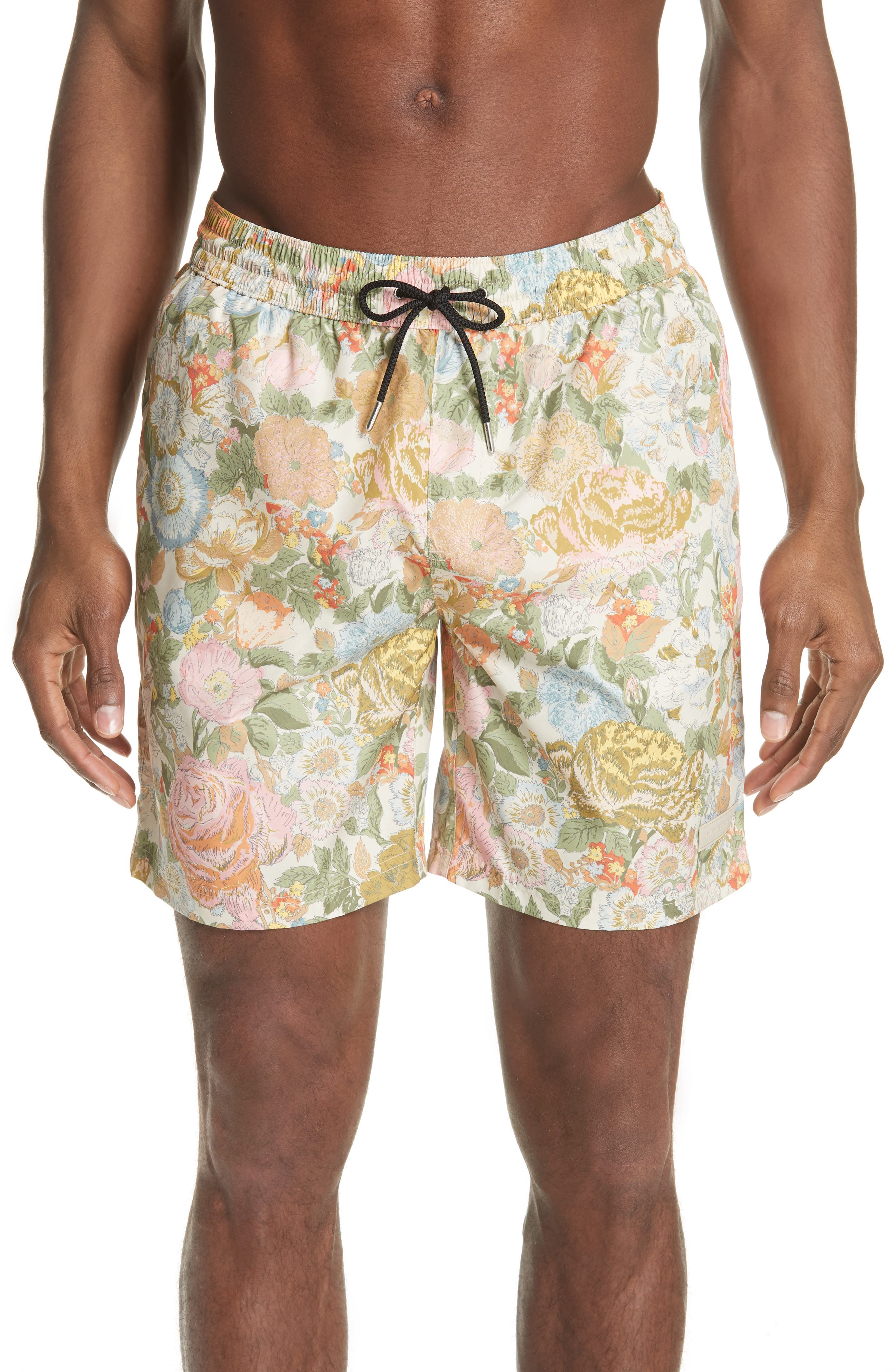Guildes Floral Print Swim Trunks,                         Main,                         color, Bright Orange