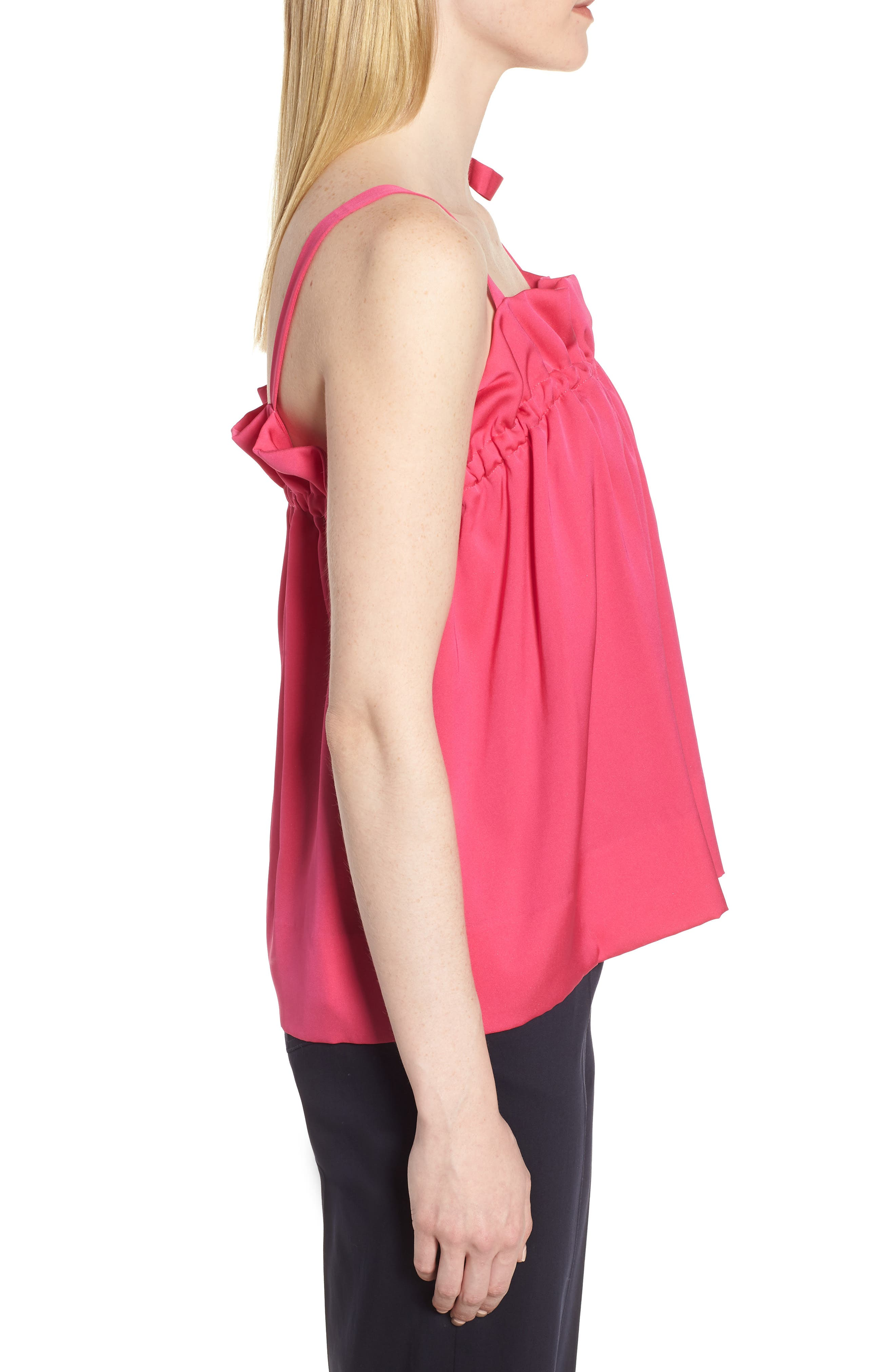 Tie Strap Stretch Silk Camisole,                             Alternate thumbnail 6, color,                             Pink Beetroot