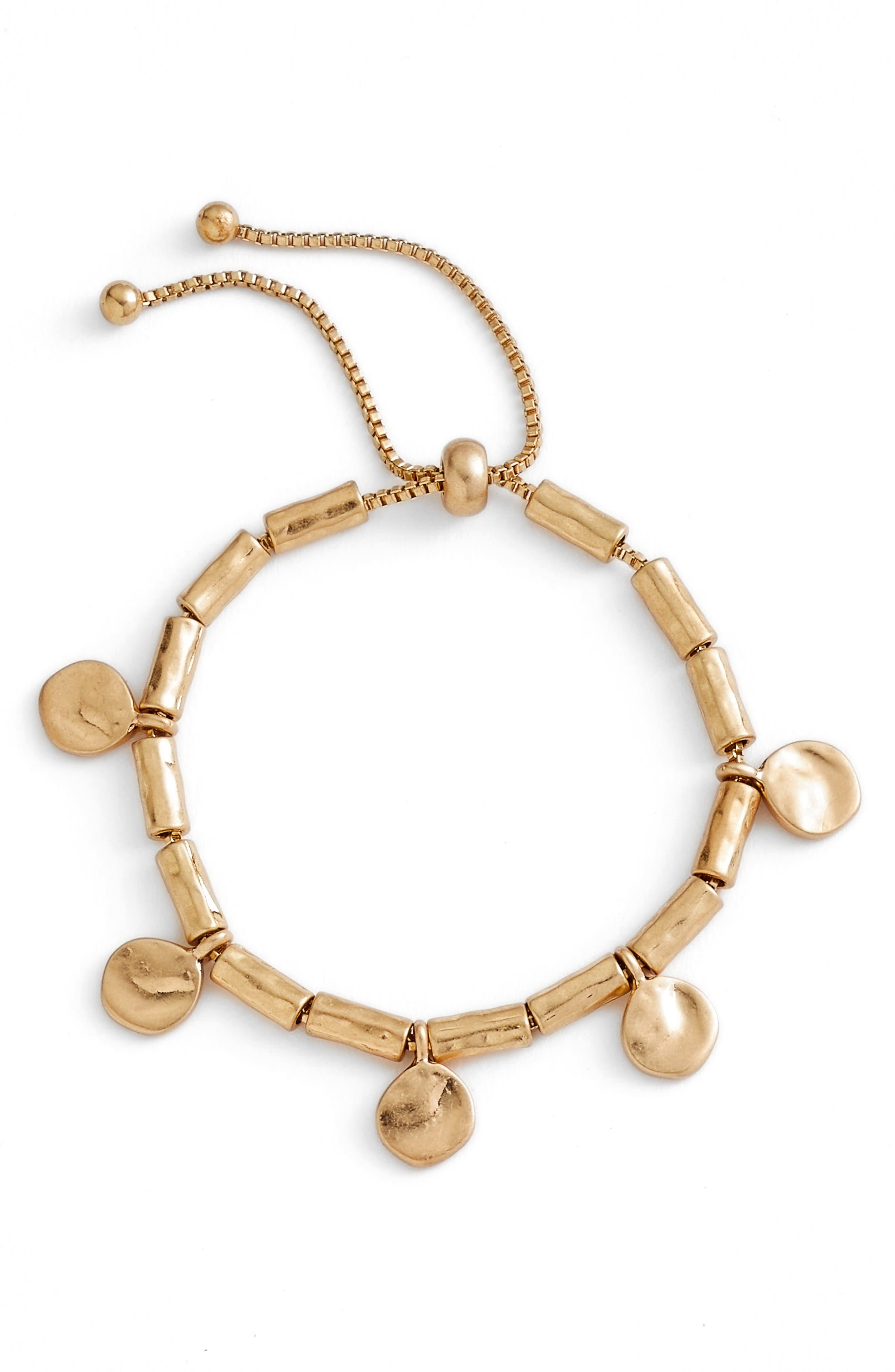 Organic Summer Metals Sliding Disc Bracelet,                         Main,                         color, Gold