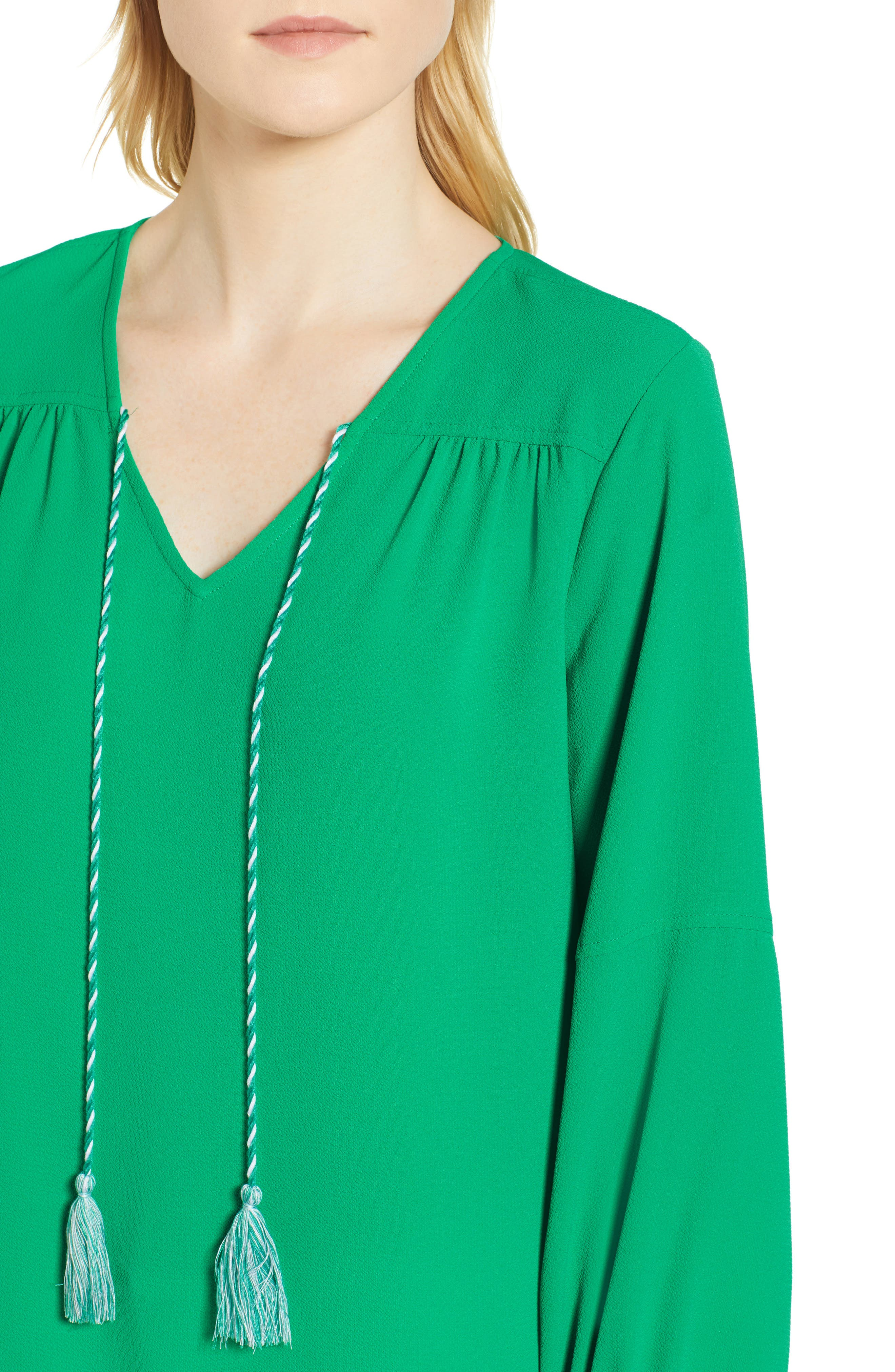Tie Neck Crepe Blouse,                             Alternate thumbnail 4, color,                             Gallery Green