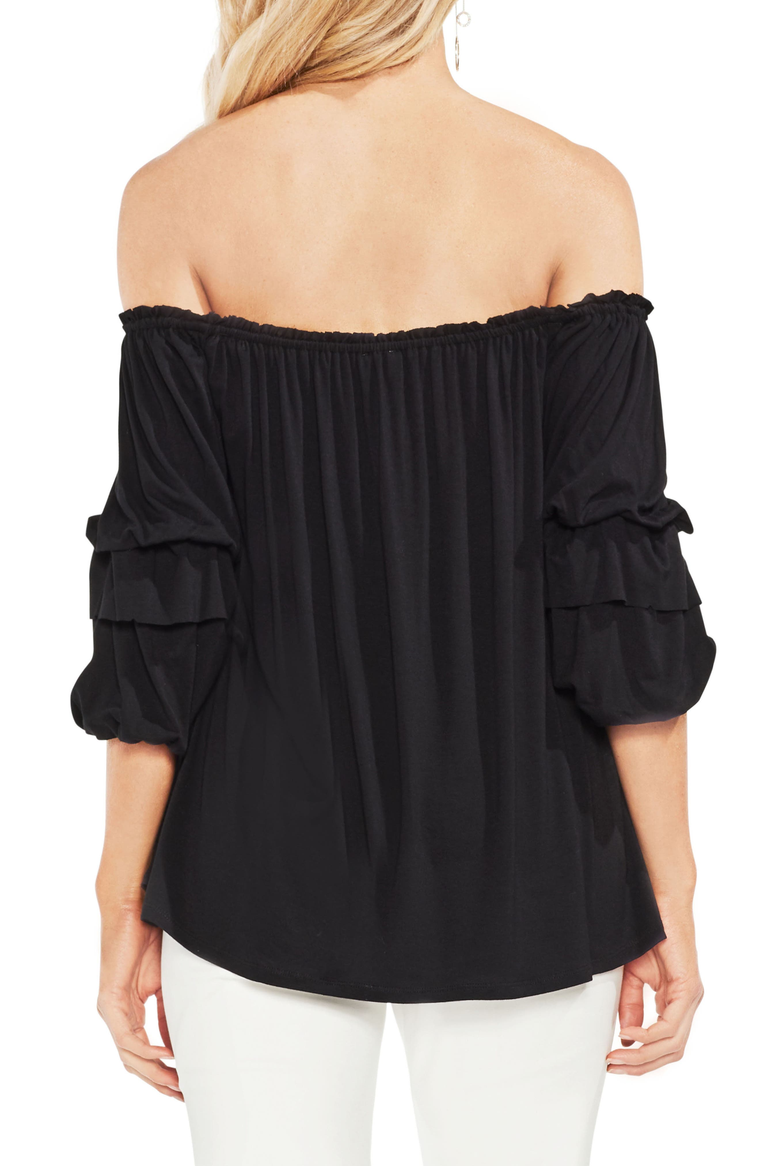 Off The Shoulder Tiered Top,                             Alternate thumbnail 2, color,                             Rich Black