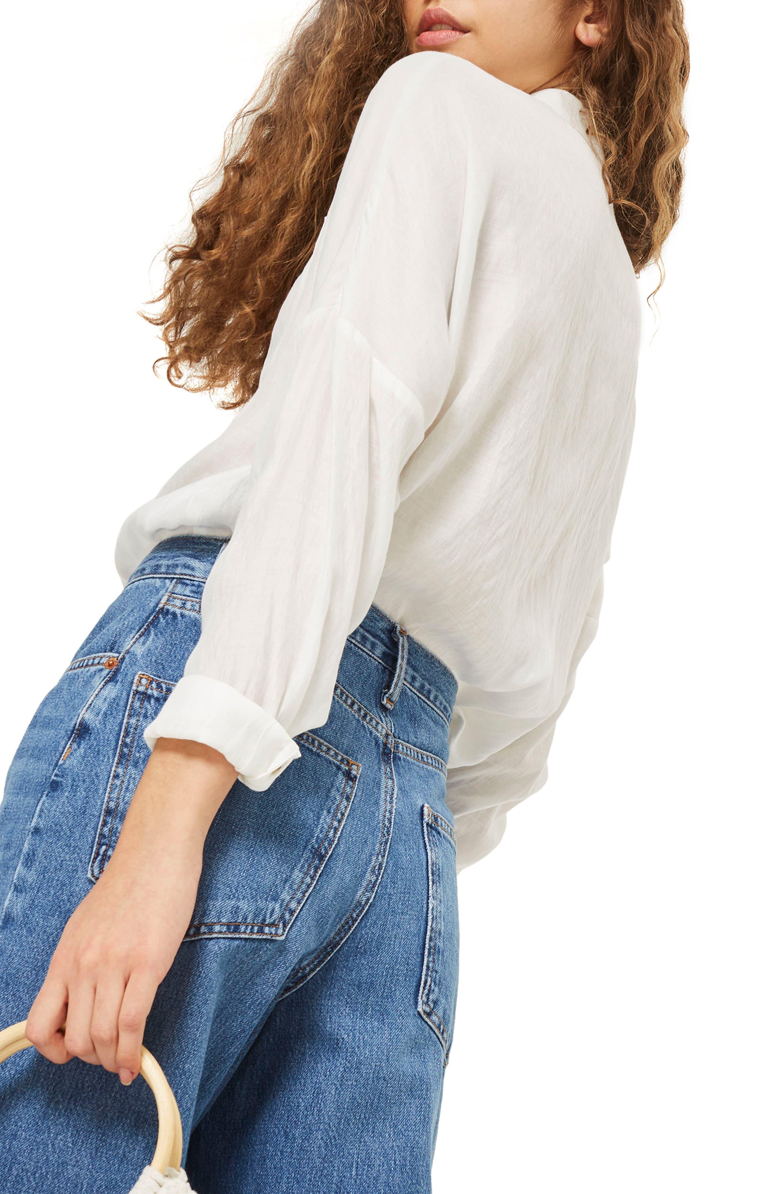 Lightweight Button Shirt,                             Alternate thumbnail 2, color,                             Ivory