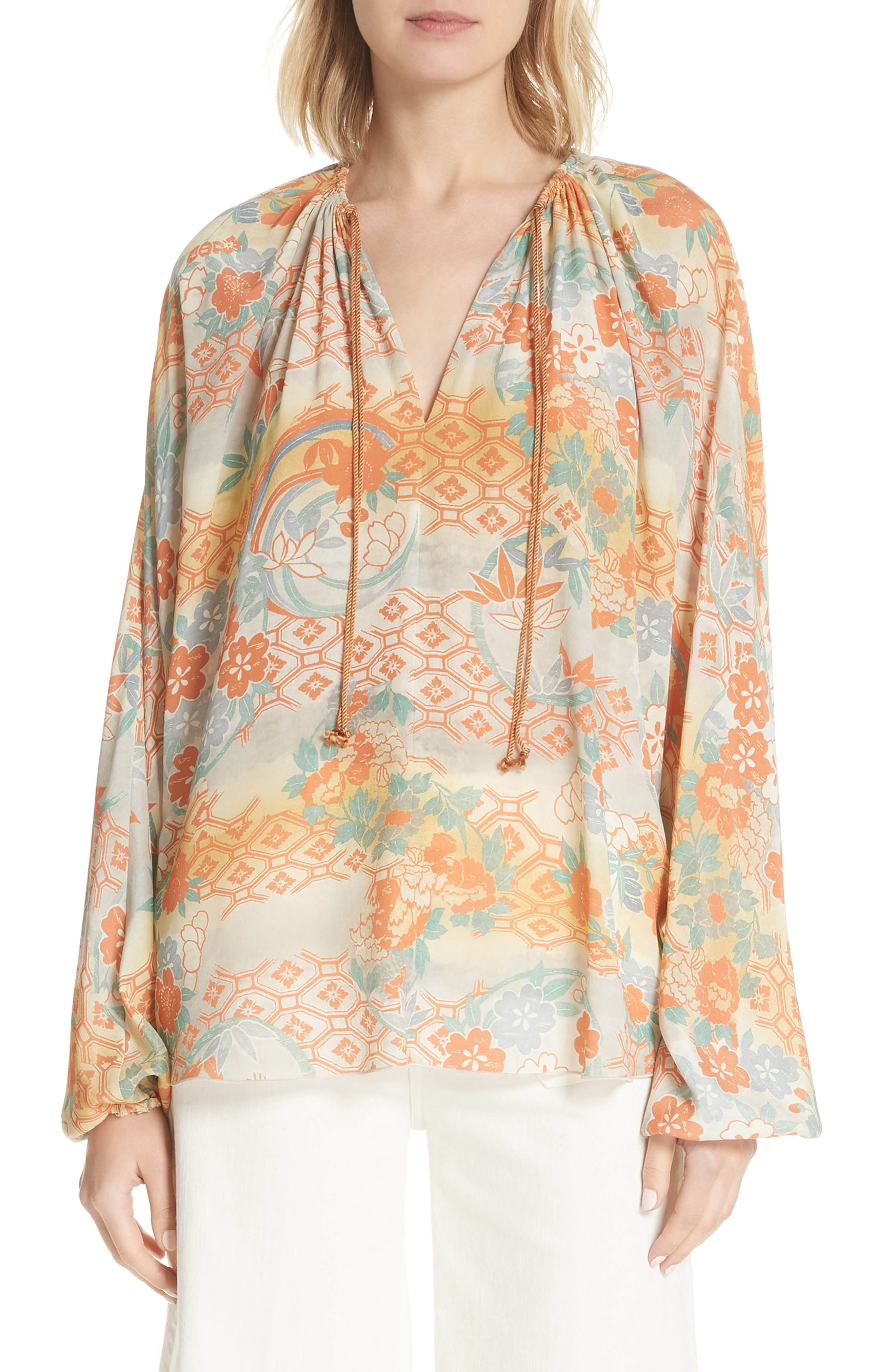 Elizabeth and James Chance Floral Print Silk Top