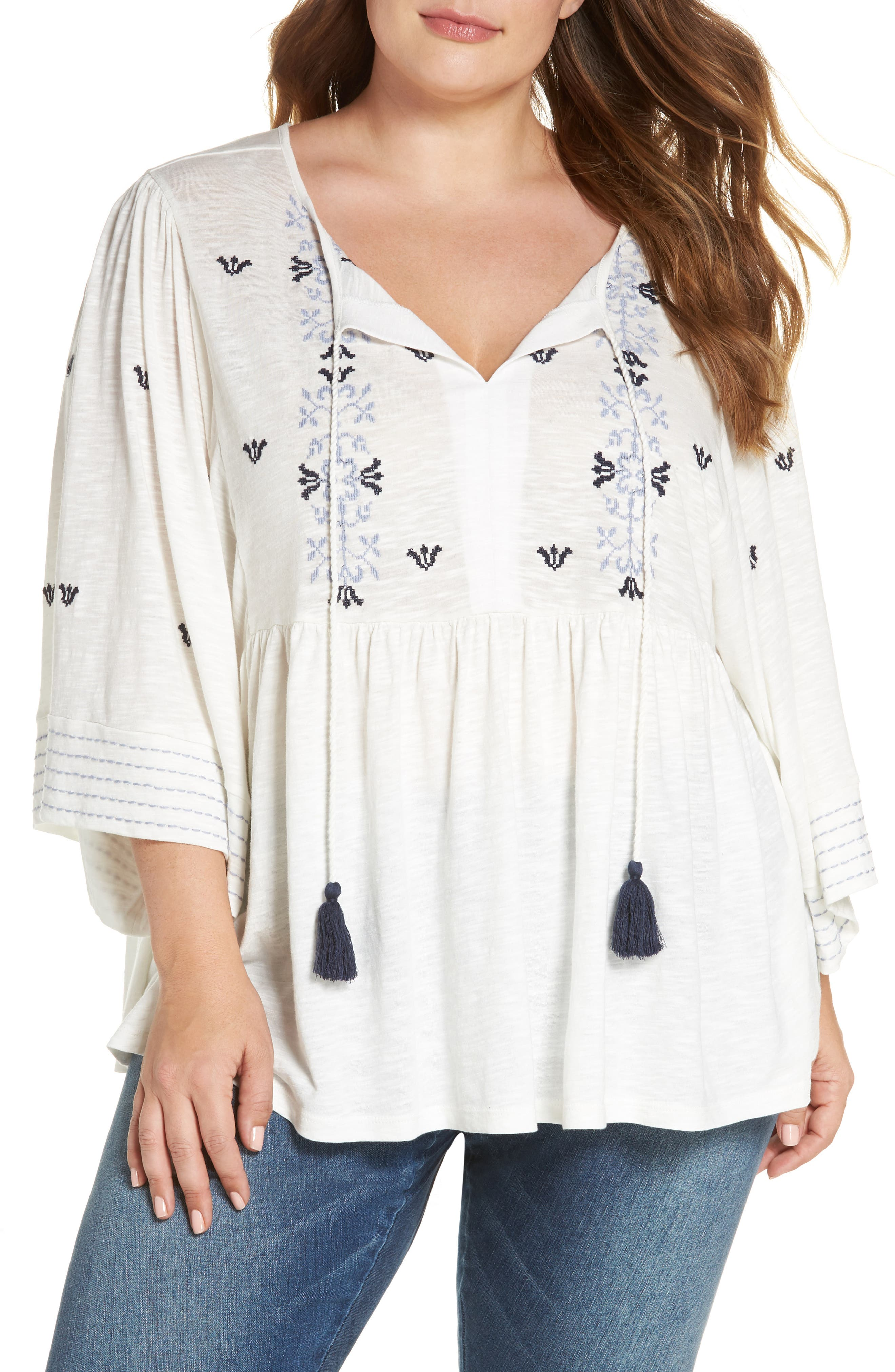 Embroidered Peasant Top,                             Main thumbnail 1, color,                             Ivory- Blue Aria