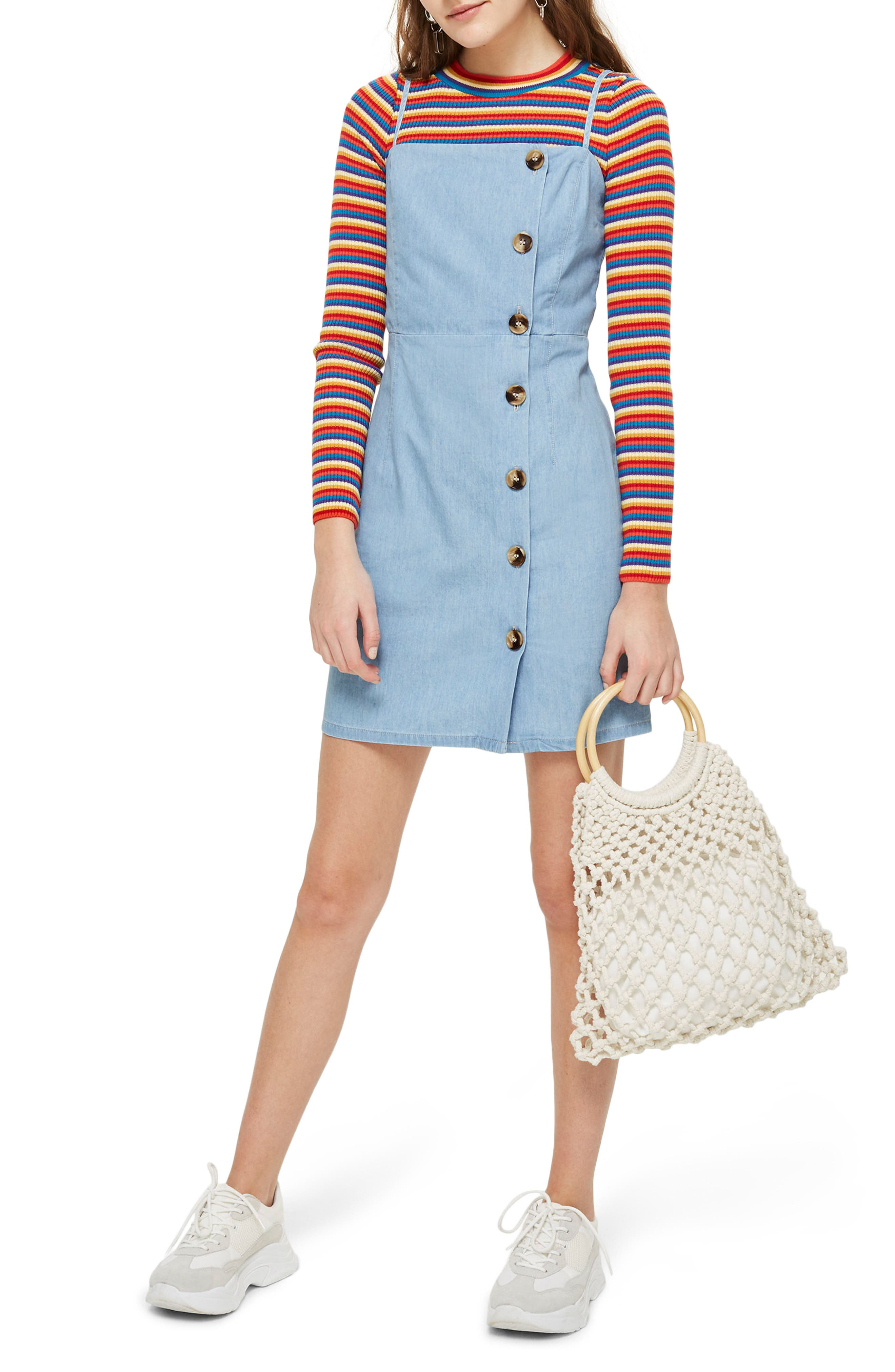 Horn Button Minidress,                         Main,                         color, Mid Denim