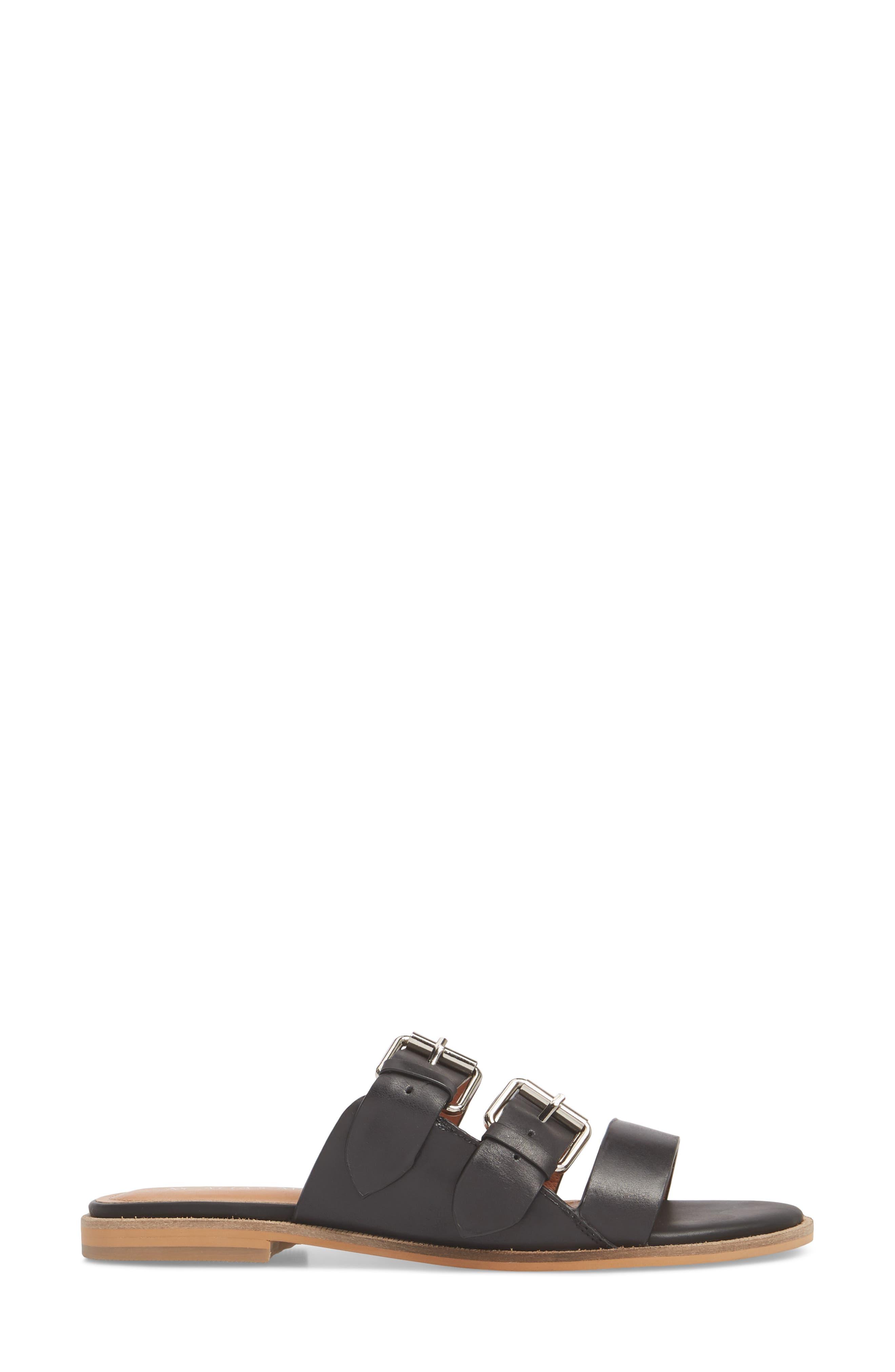 Theatre Buckled Slide Sandal,                             Alternate thumbnail 3, color,                             Black Leather