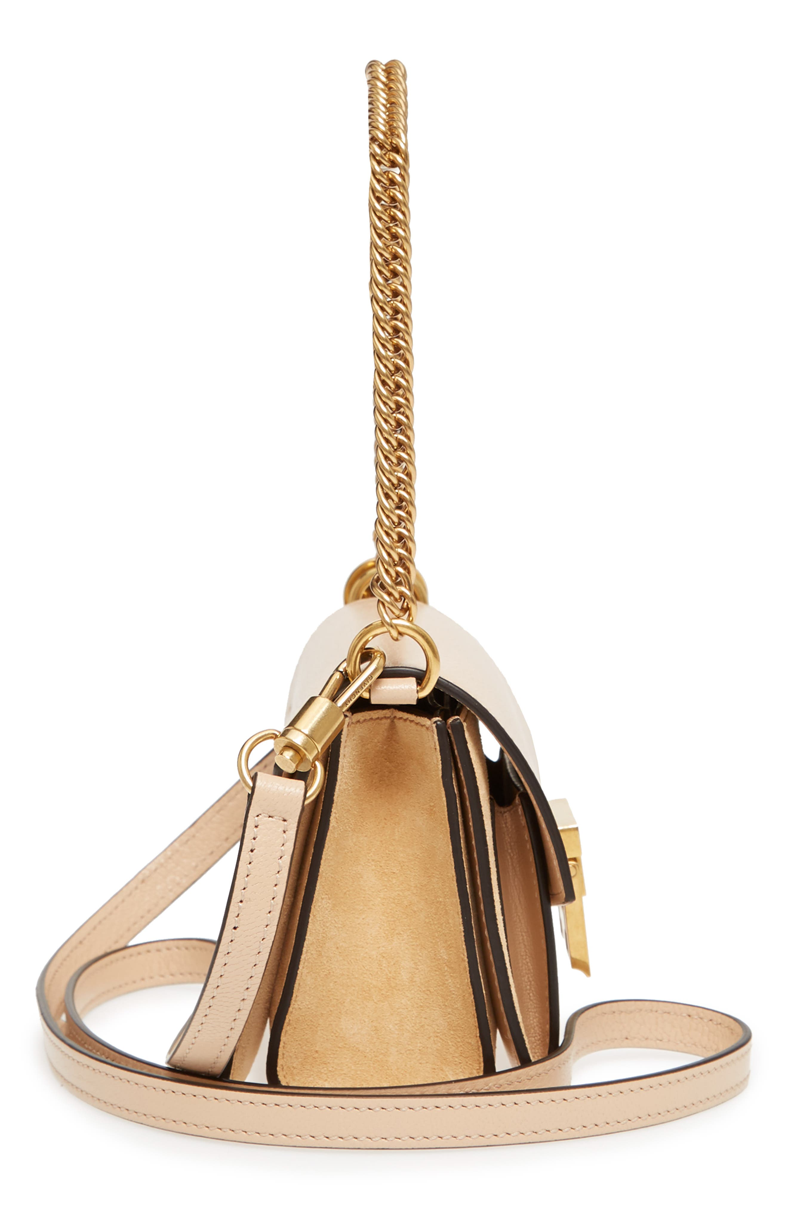 Mini GV3 Leather & Suede Crossbody Bag,                             Alternate thumbnail 4, color,                             Nude/ Light Beige