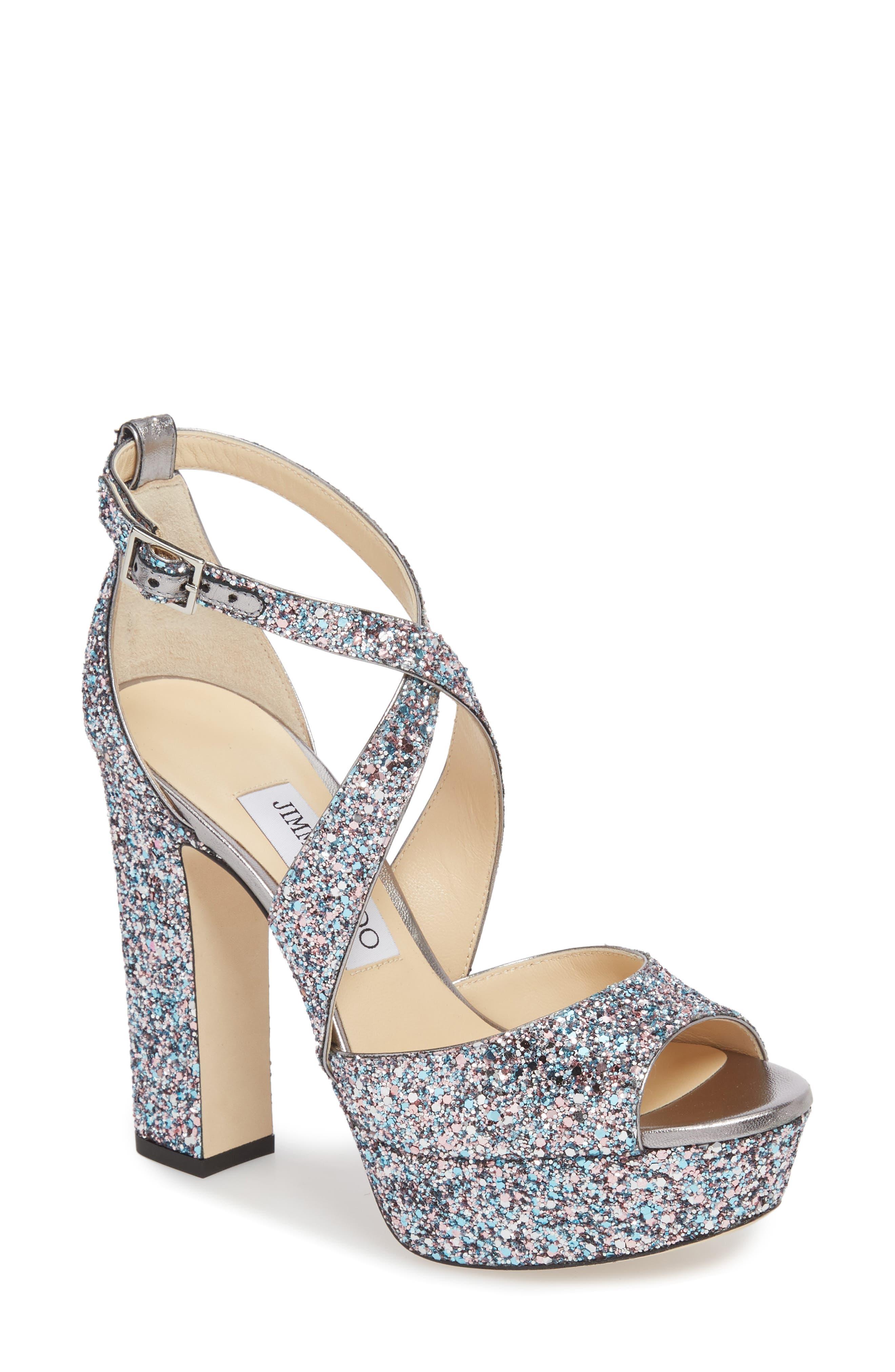 April Glitter Platform Sandal,                             Main thumbnail 1, color,                             Bubblegum