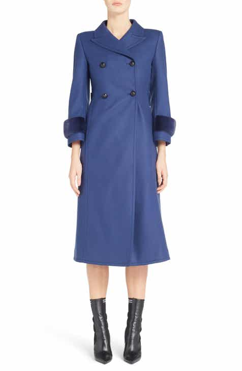 Fendi Double Breasted Wool Blend Coat with Genuine Mink Fur Cuffs