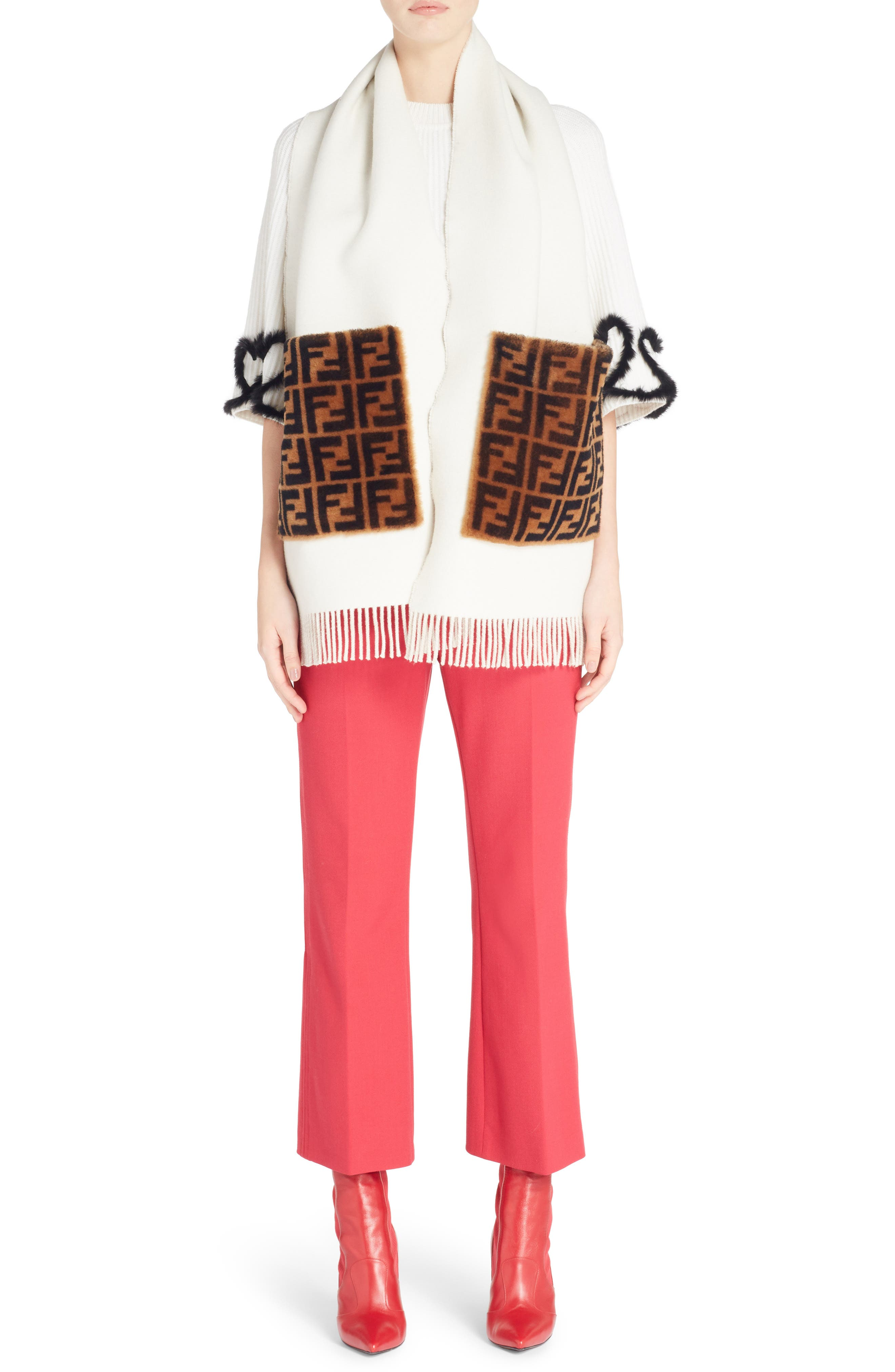 Stretch Drill Crop Flare Pants,                             Alternate thumbnail 7, color,                             Red