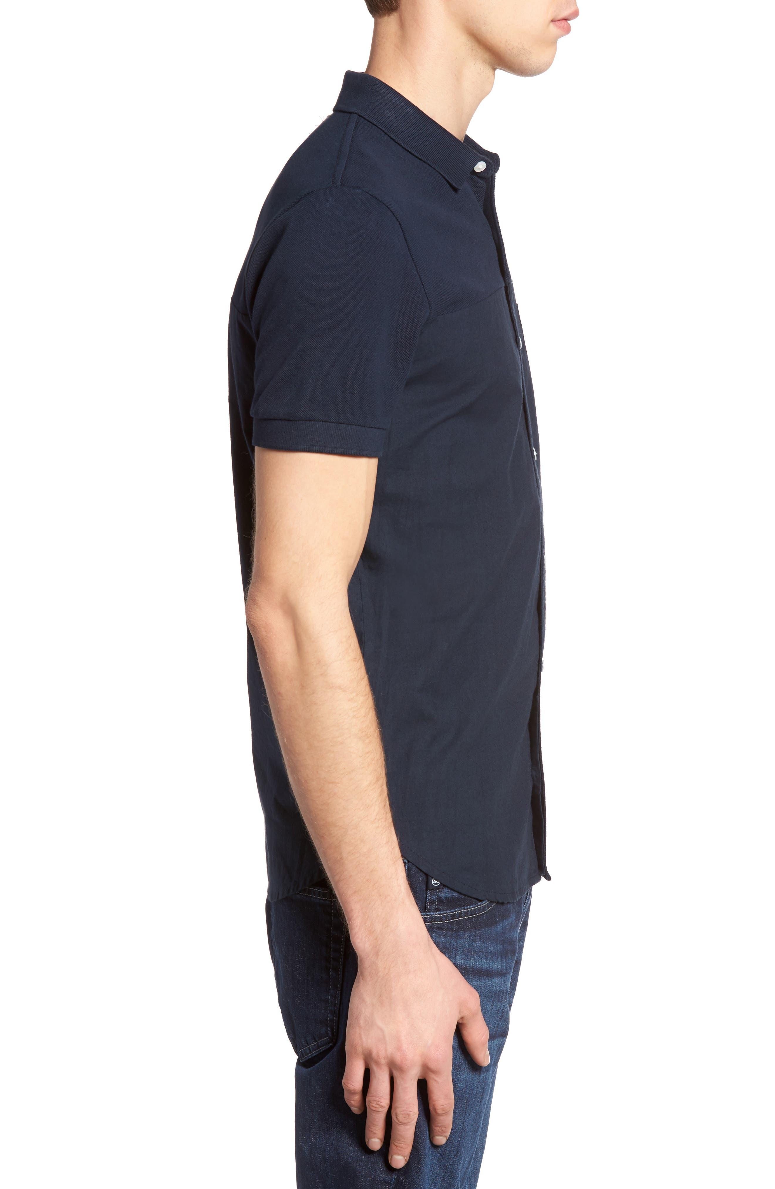 Slim Fit Short Sleeve Sport Shirt,                             Alternate thumbnail 4, color,                             Marine Blue