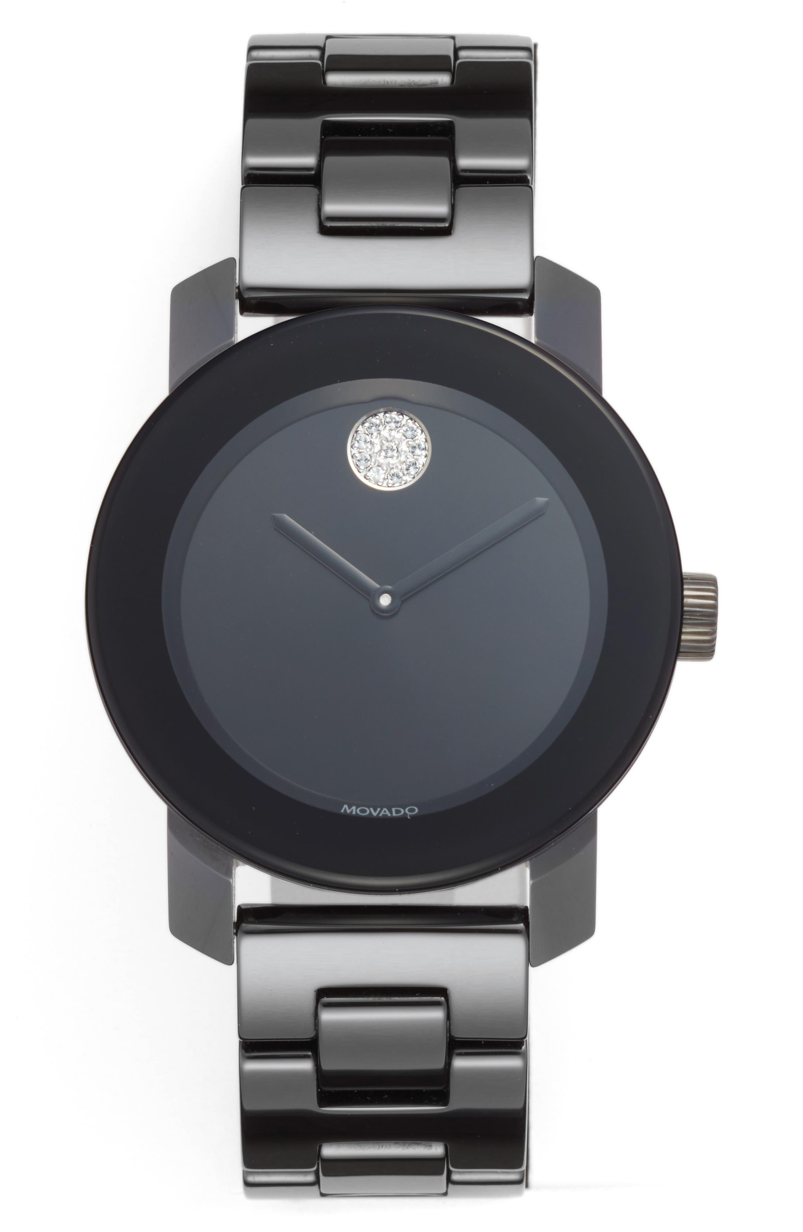Bold Ceramic Bracelet Watch, 36mm,                         Main,                         color, Black