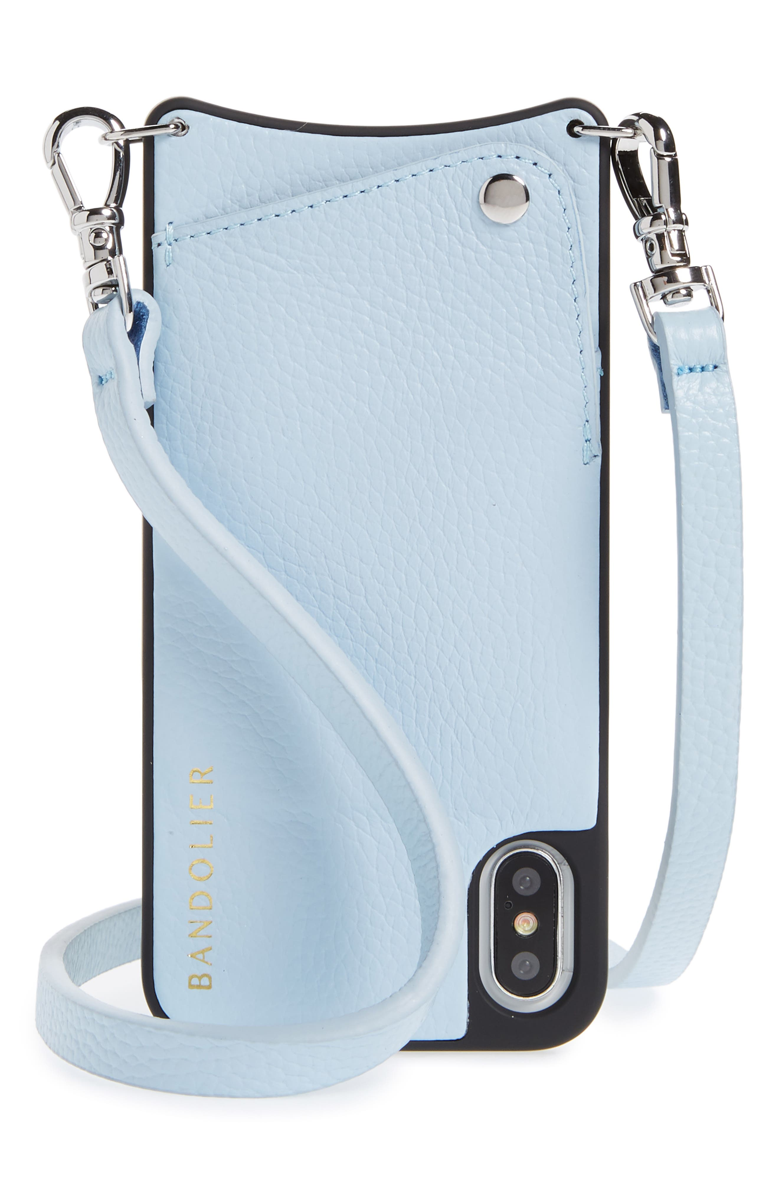 Emma iPhone X Crossbody Case,                             Main thumbnail 1, color,                             Light Blue/ Silver