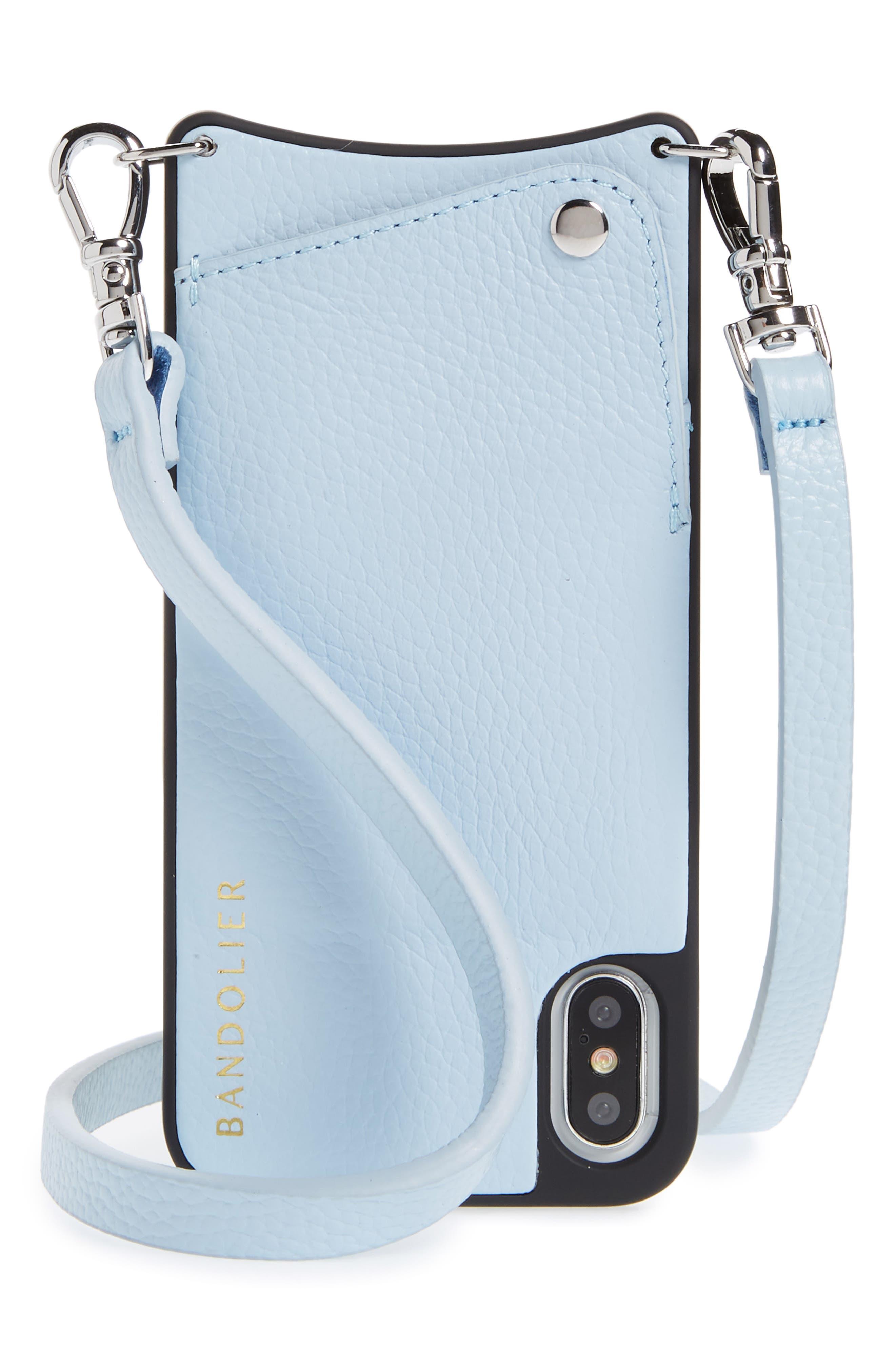 Emma iPhone X Crossbody Case,                         Main,                         color, Light Blue/ Silver