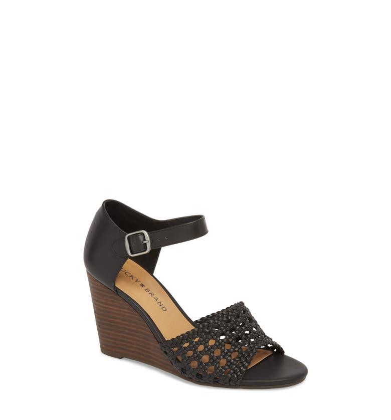 d1e60e439f Lucky Brand Rabekka Wedge Sandal In Black Leather | ModeSens
