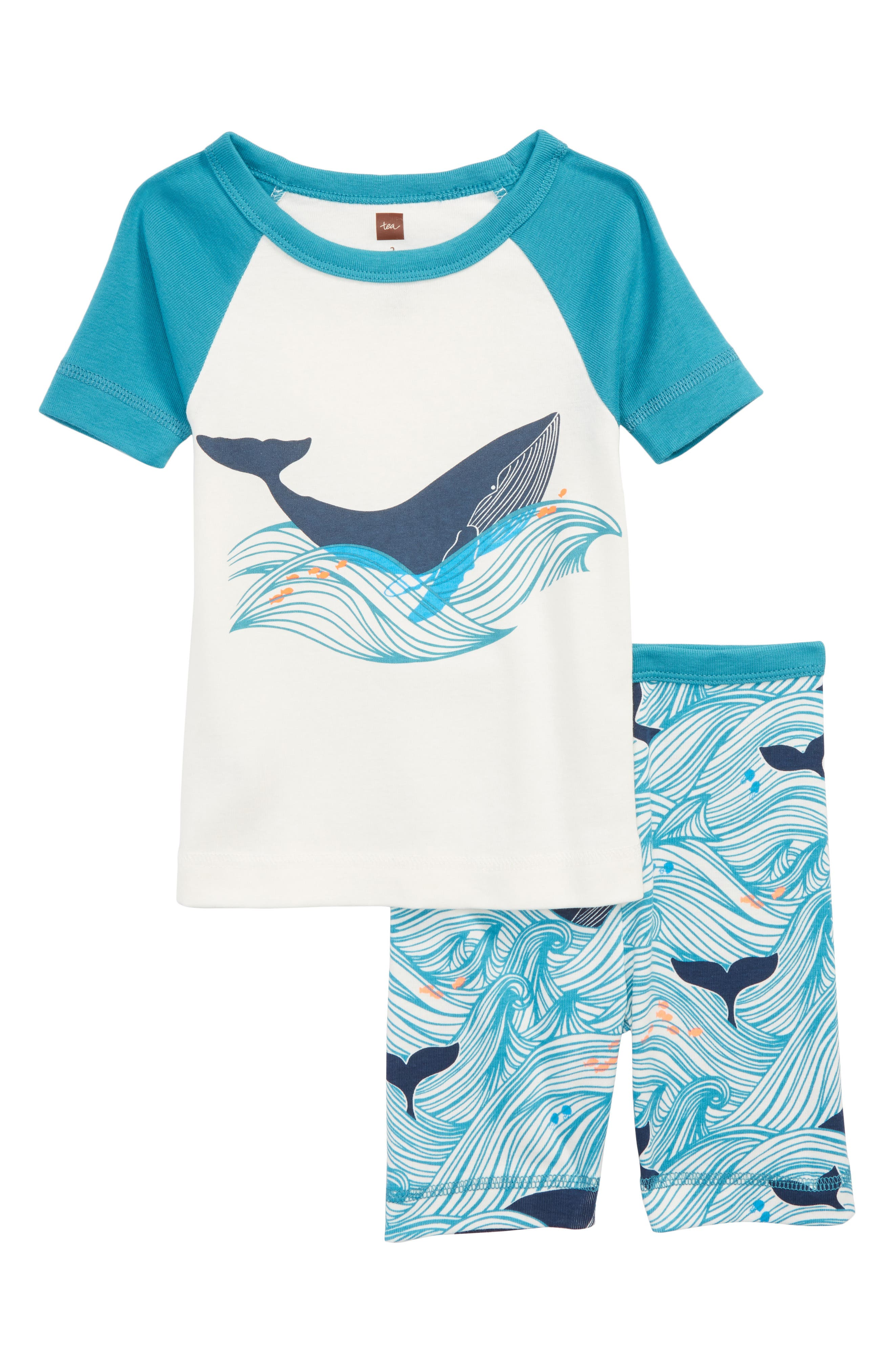 Wavy Whale Fitted Two-Piece Short Pajamas,                         Main,                         color, Pagoda Blue
