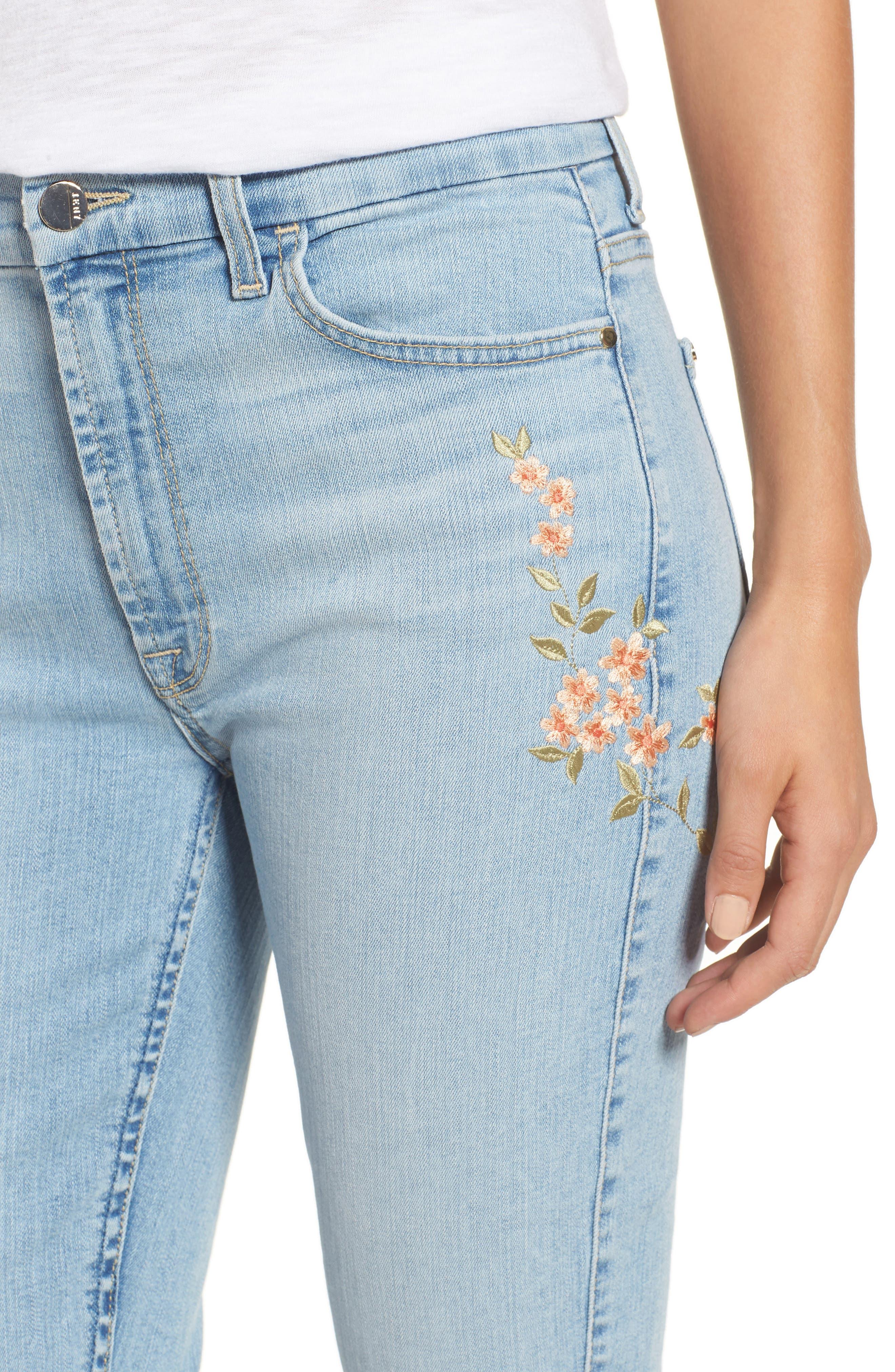 Embroidered Slim Boyfriend Jeans,                             Alternate thumbnail 4, color,                             Riche Touch Playa Vista