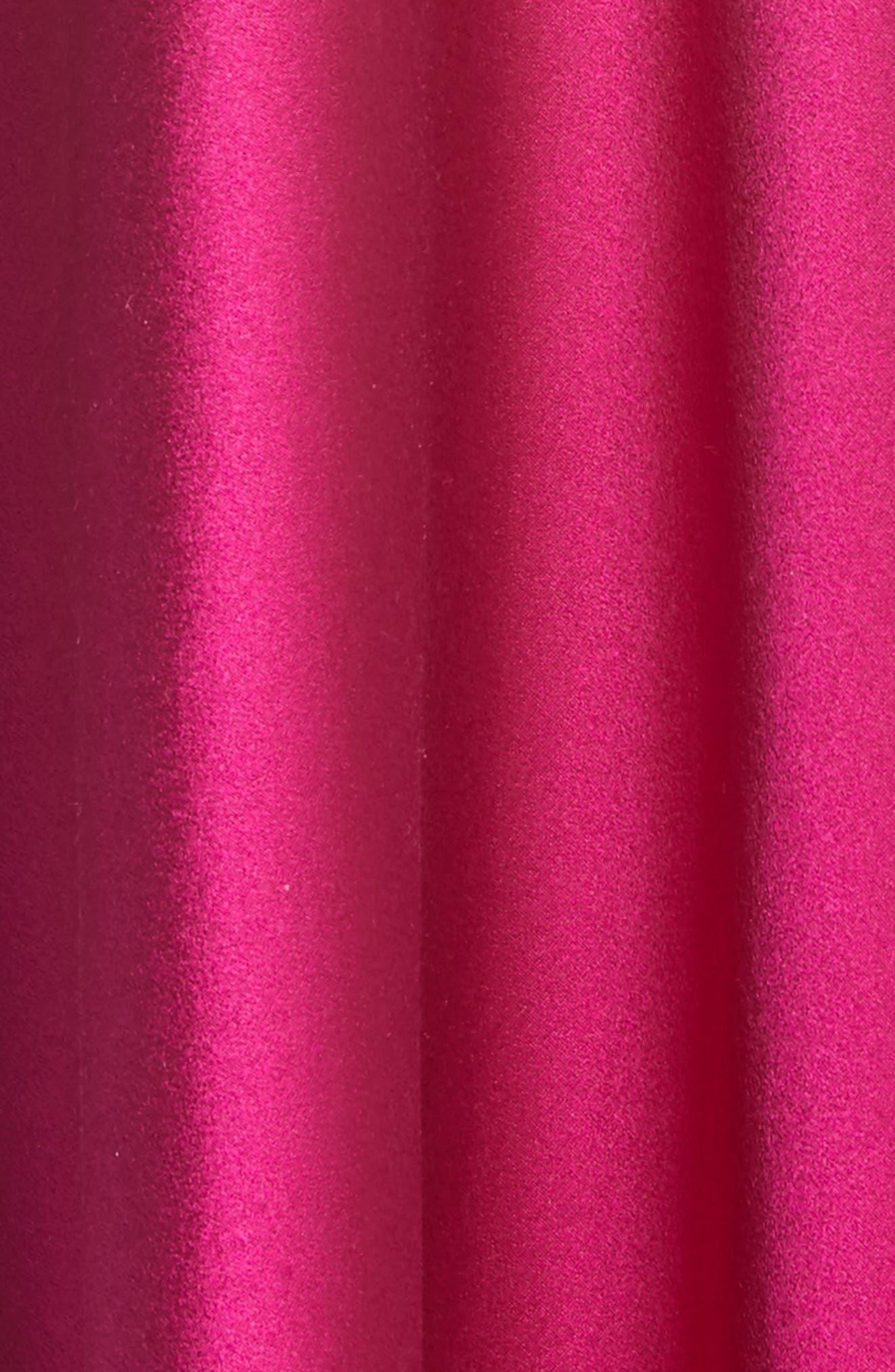Silk Mock Neck Gown,                             Alternate thumbnail 5, color,                             Raspberry