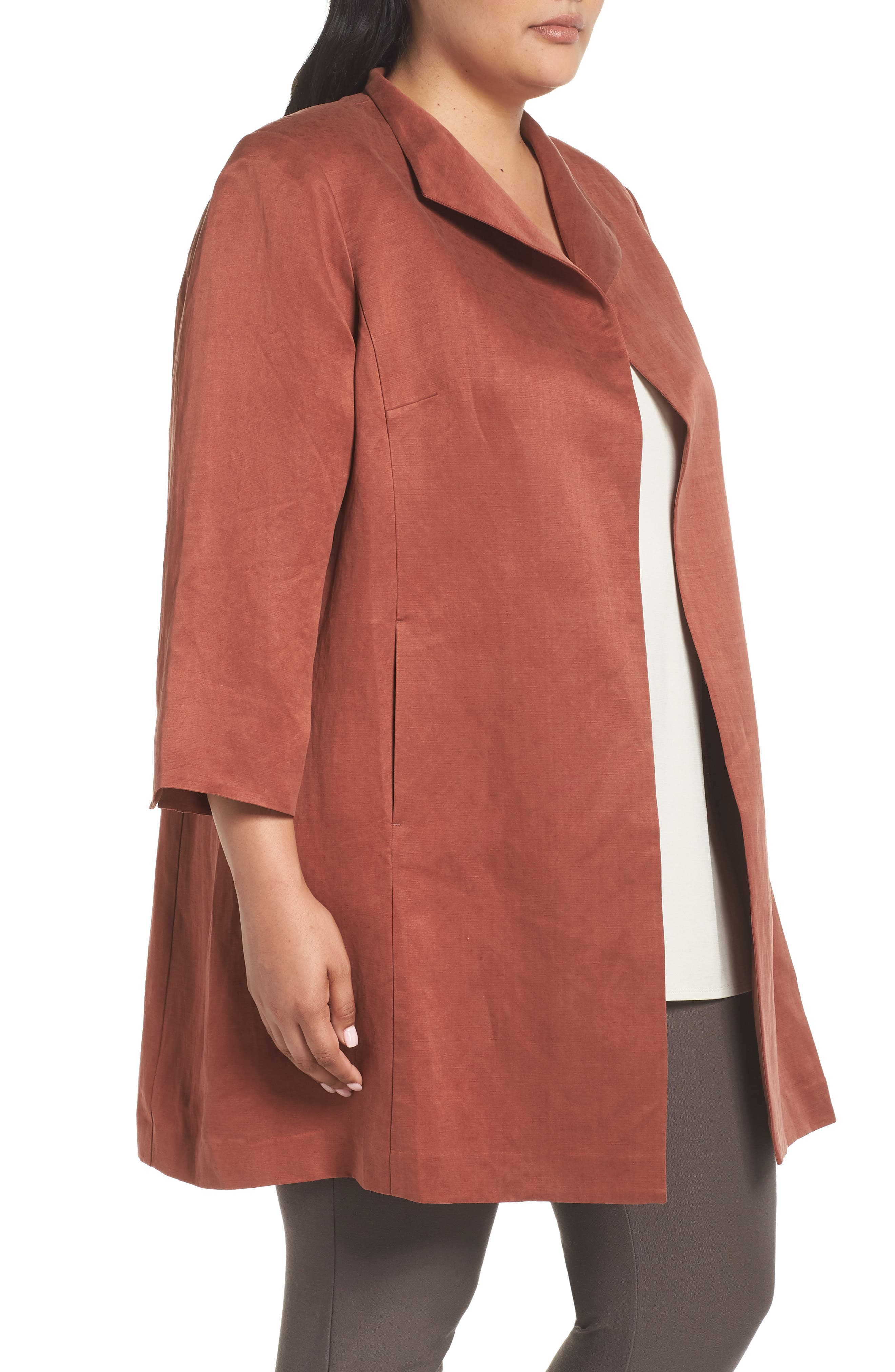 Alternate Image 3  - Eileen Fisher Linen & Silk High Collar Coat (Plus Size)