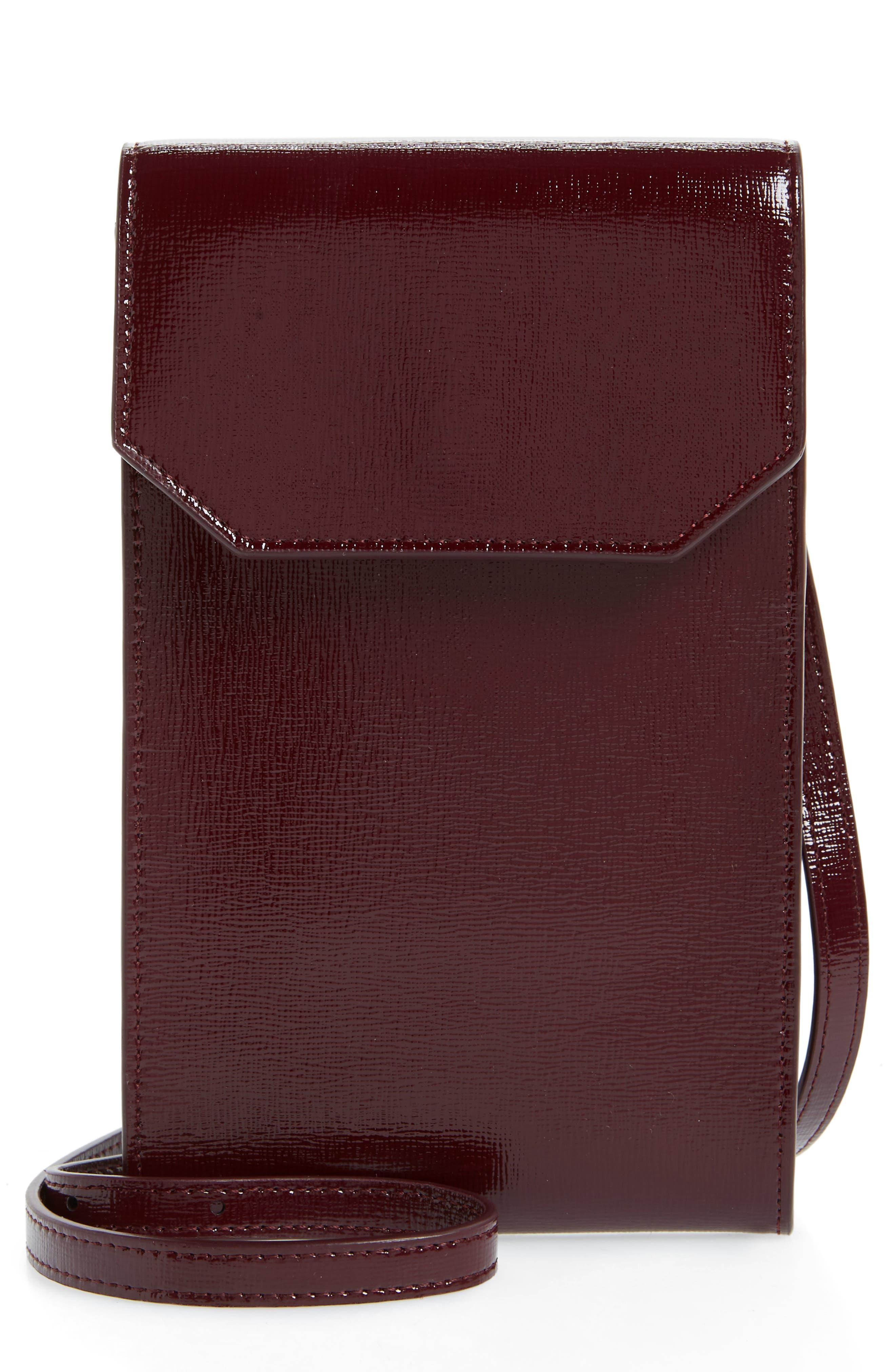 Leather Phone Crossbody Bag,                         Main,                         color, Burgundy Royale