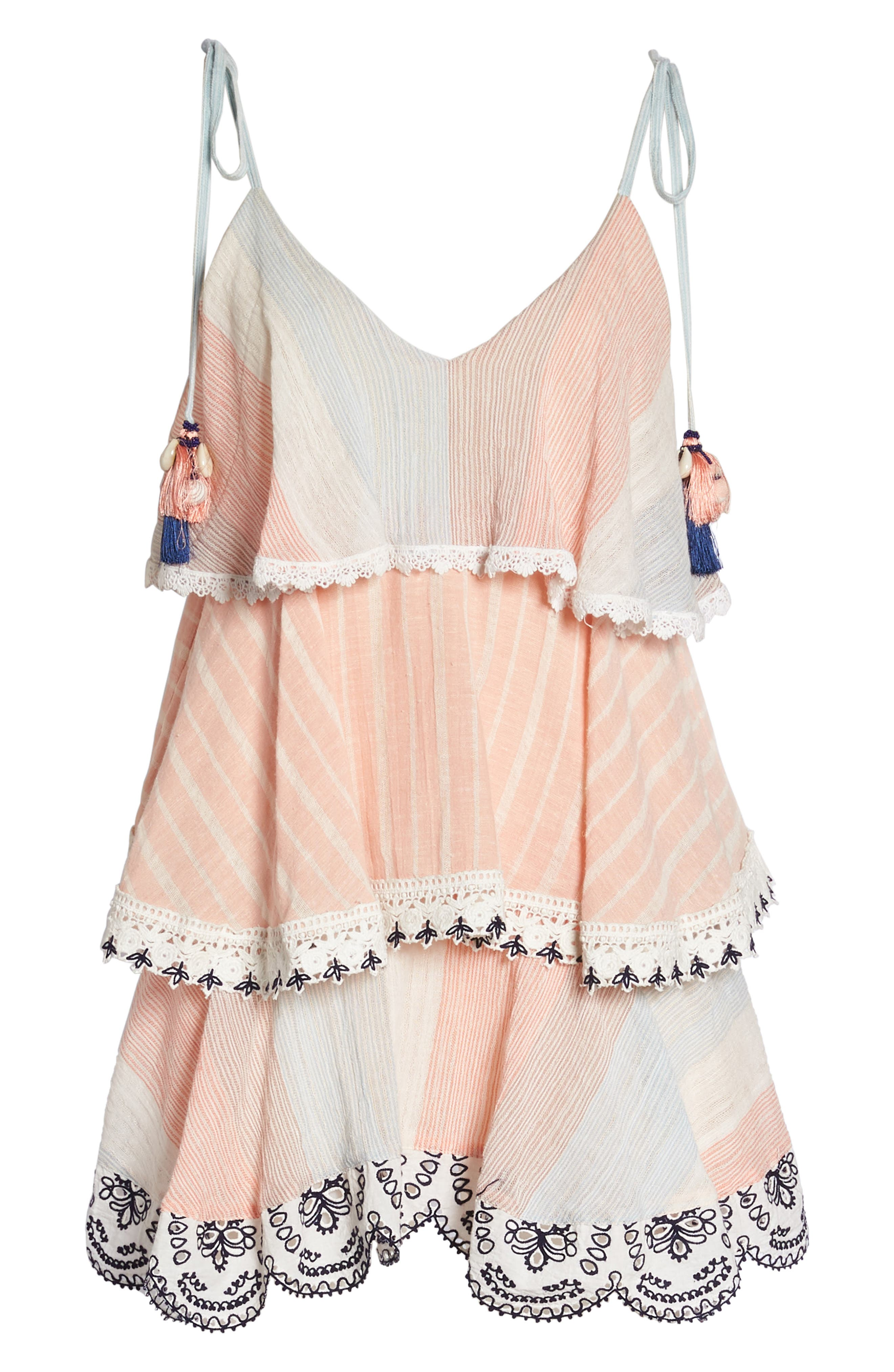 Hemant & Nandita Tiered Cover-Up Dress,                             Alternate thumbnail 6, color,                             Peach