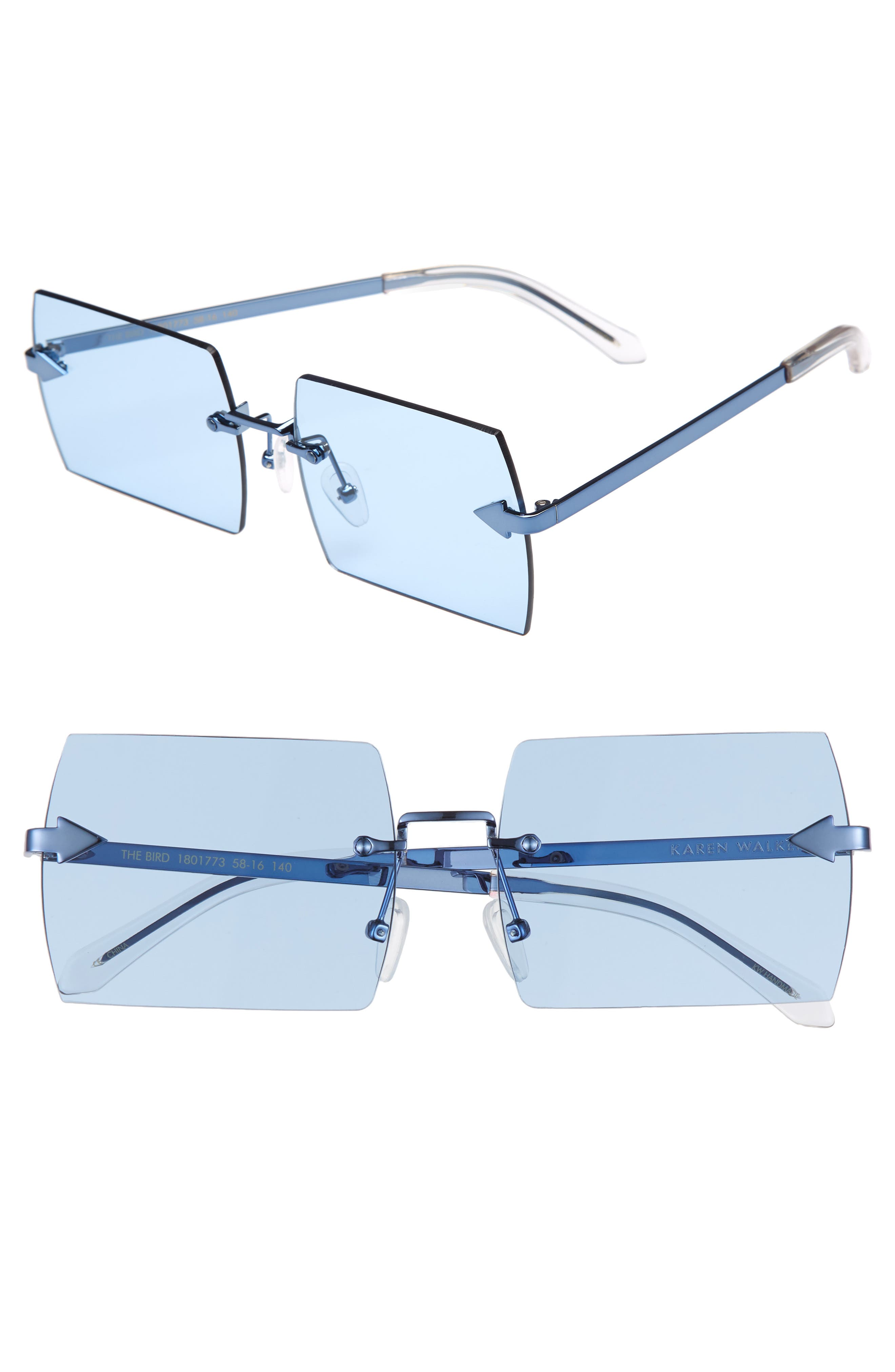 The Bird 58mm Rimless Sunglasses,                             Main thumbnail 1, color,                             Sky