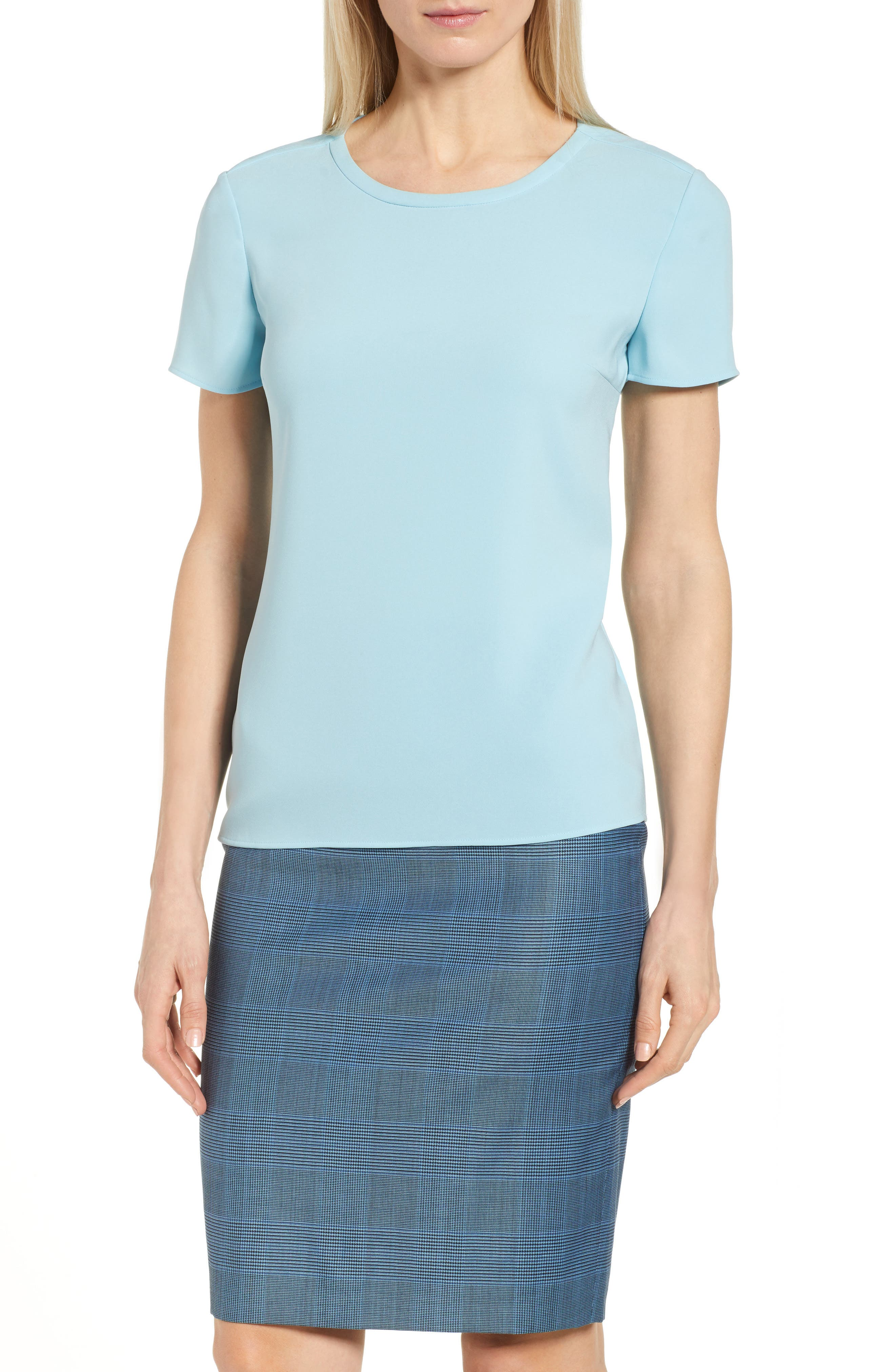 Ilyna Crepe Short Sleeve Top,                         Main,                         color, Lagoon Blue
