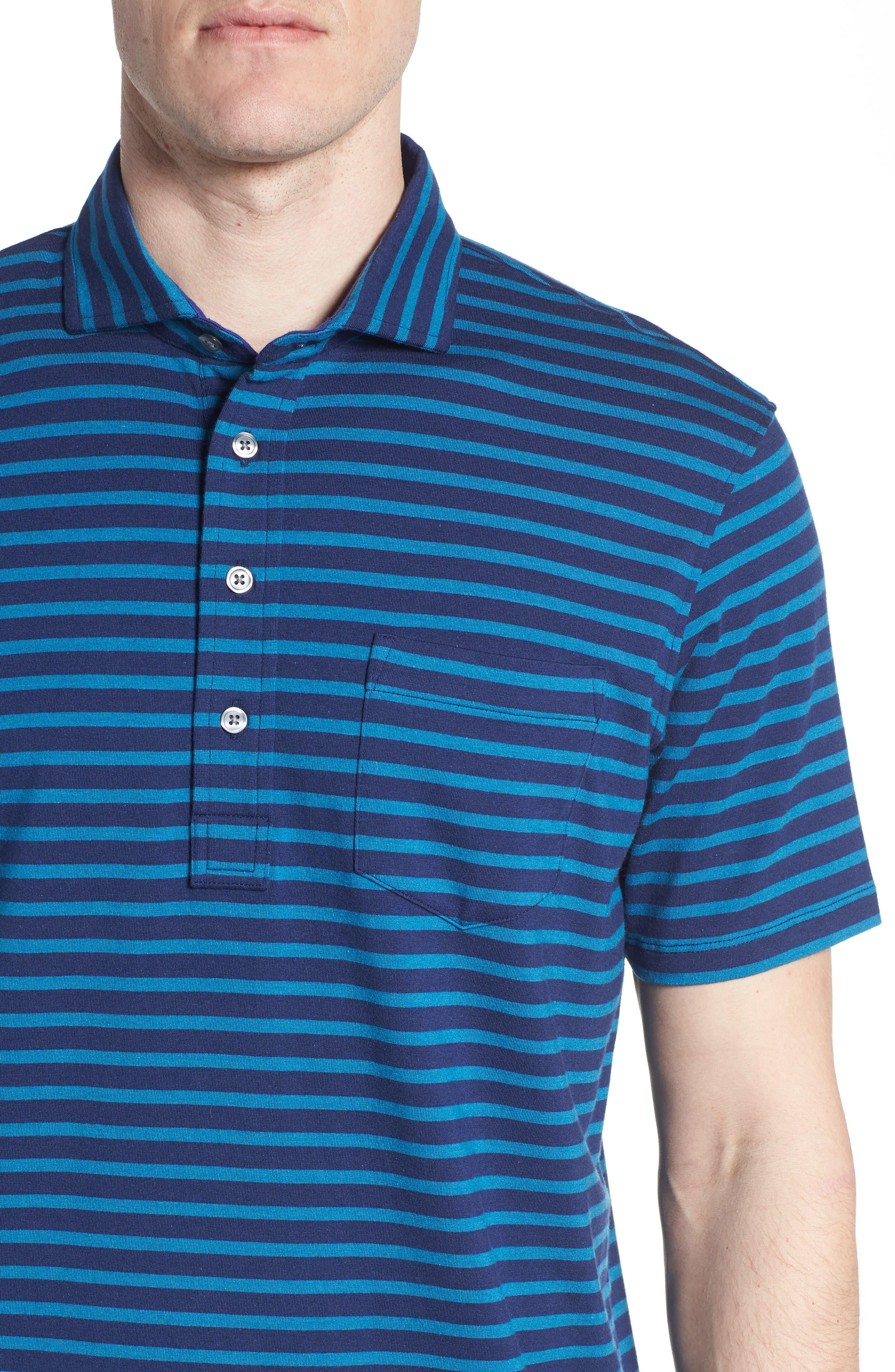 Wichita Stripe Polo,                             Alternate thumbnail 4, color,                             Maltese/ Caymen
