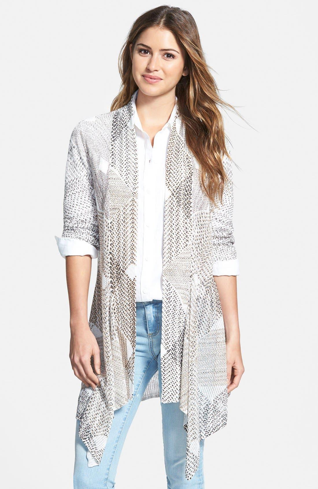 Main Image - NIC+ZOE 'Dashed Diamonds' Long Cardigan (Regular & Petite)
