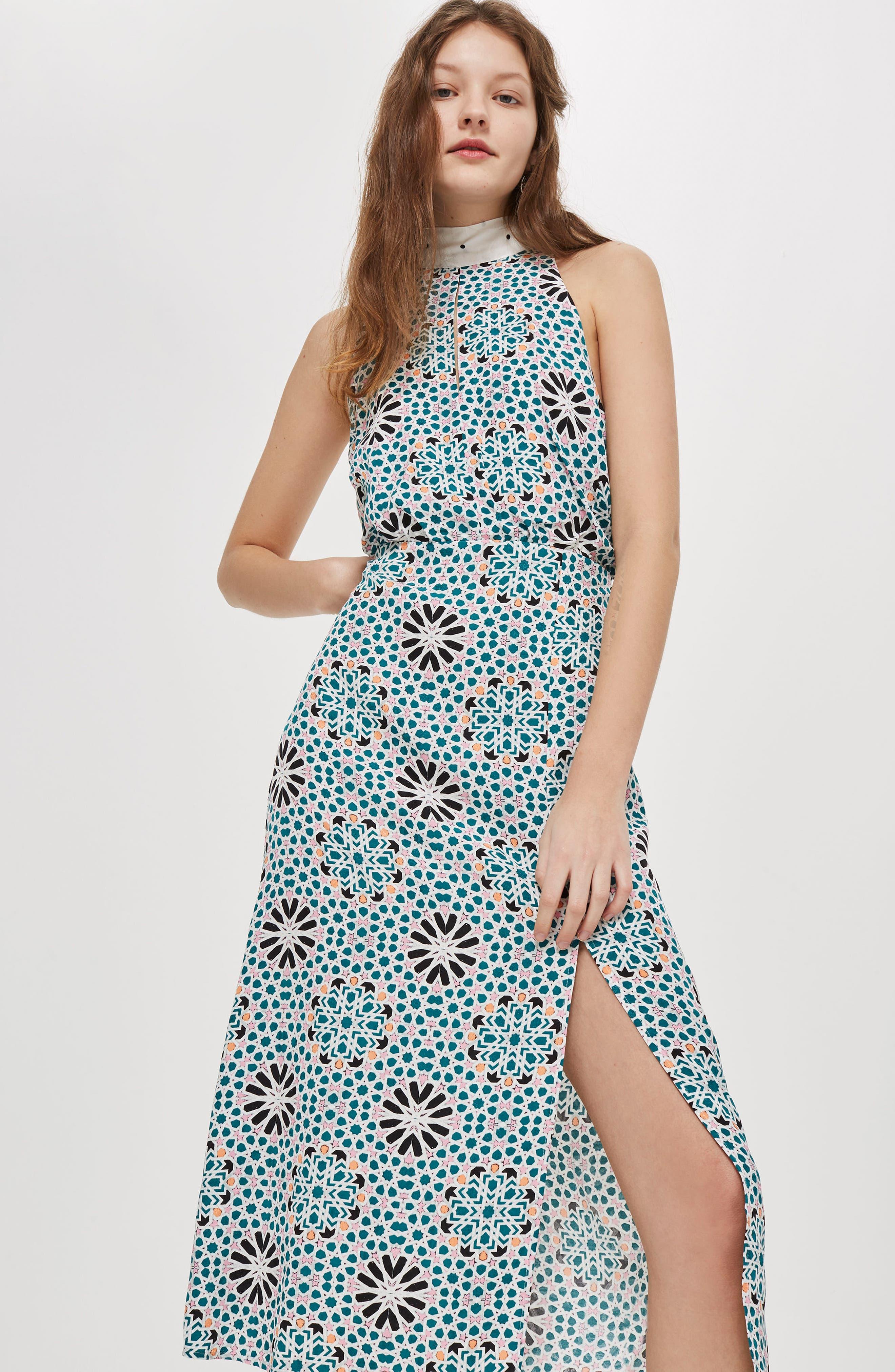 Geo Tie Neck Halter Midi Dress,                             Alternate thumbnail 2, color,                             Blue Multi