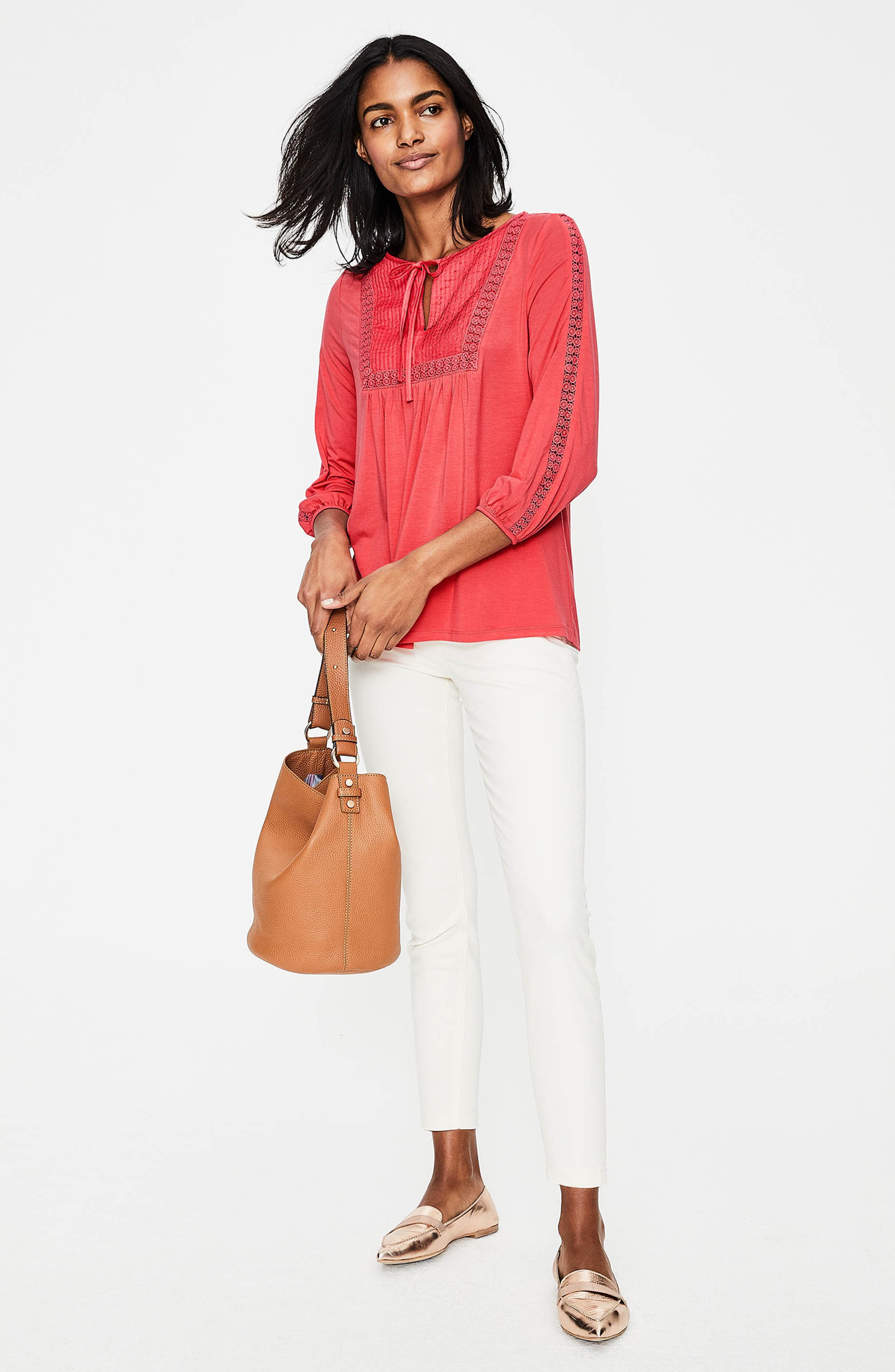 Mixed Textures Peasant Top,                             Alternate thumbnail 5, color,                             Coral Sunset