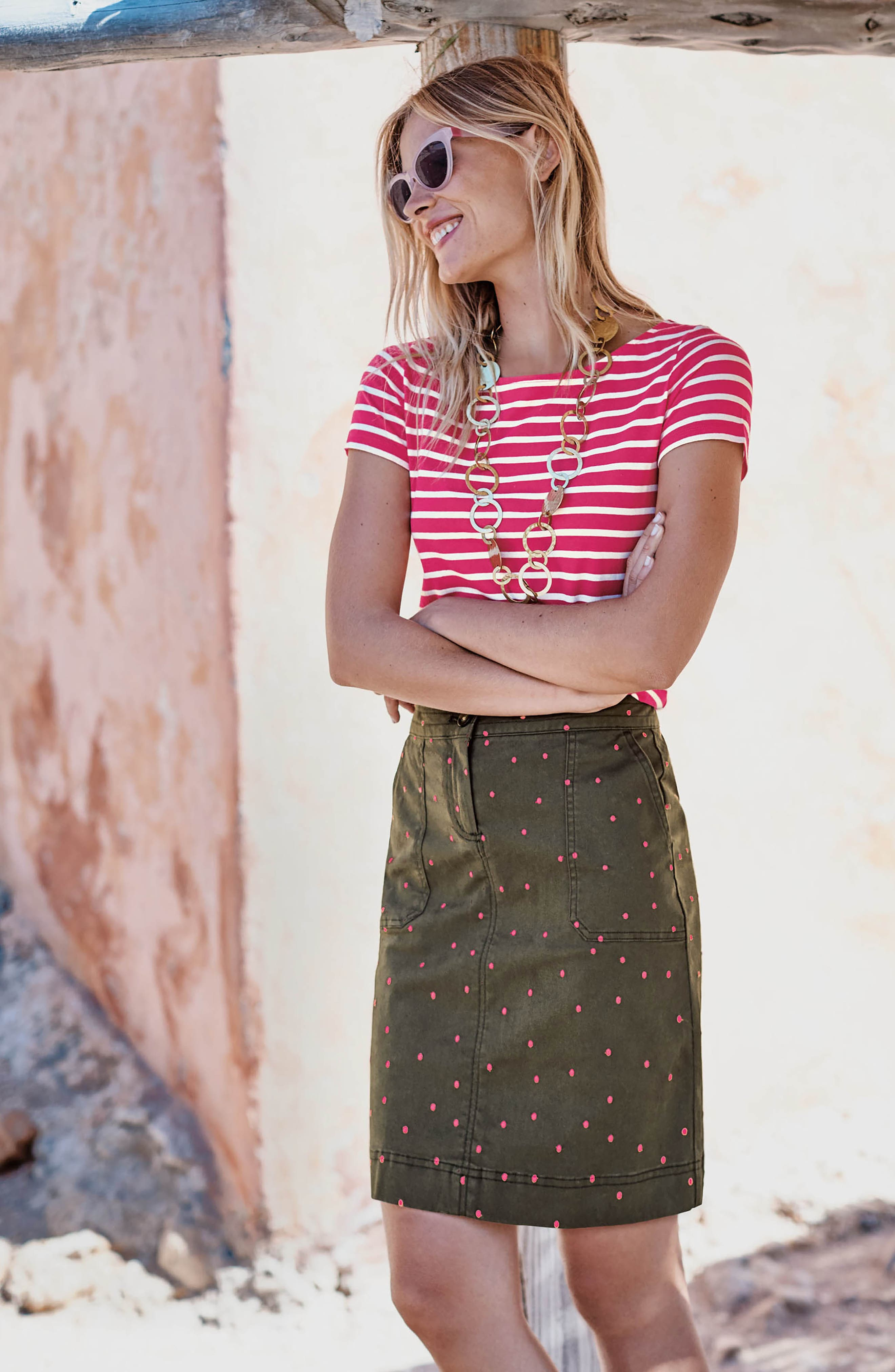 Stretch Cotton A-Line Skirt,                             Alternate thumbnail 2, color,                             Khaki With Fluro Pin