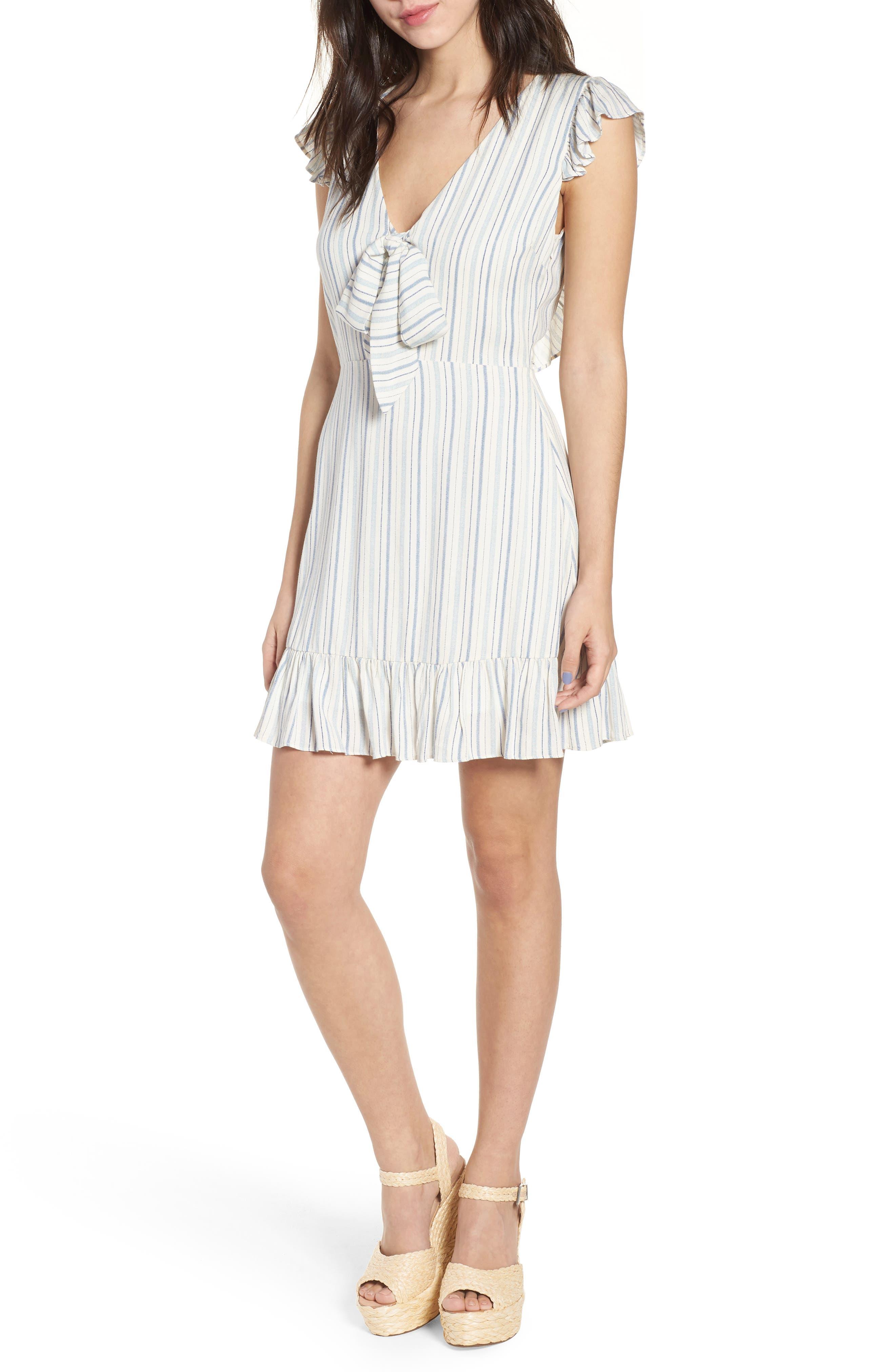 Kiara Stripe Minidress,                         Main,                         color, Light Blue