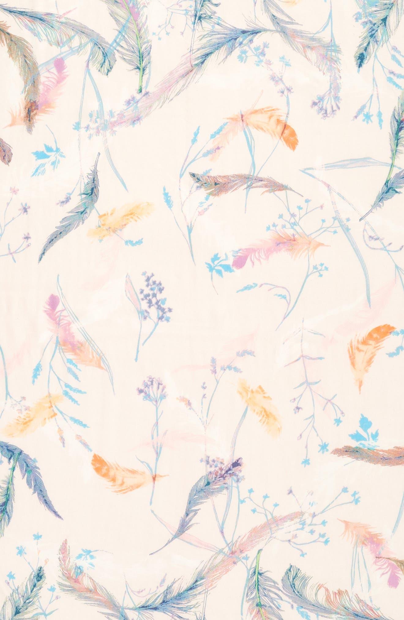 Eyelash Trim Print Cashmere & Silk Wrap,                             Alternate thumbnail 4, color,                             Pink Fanciful Feathers