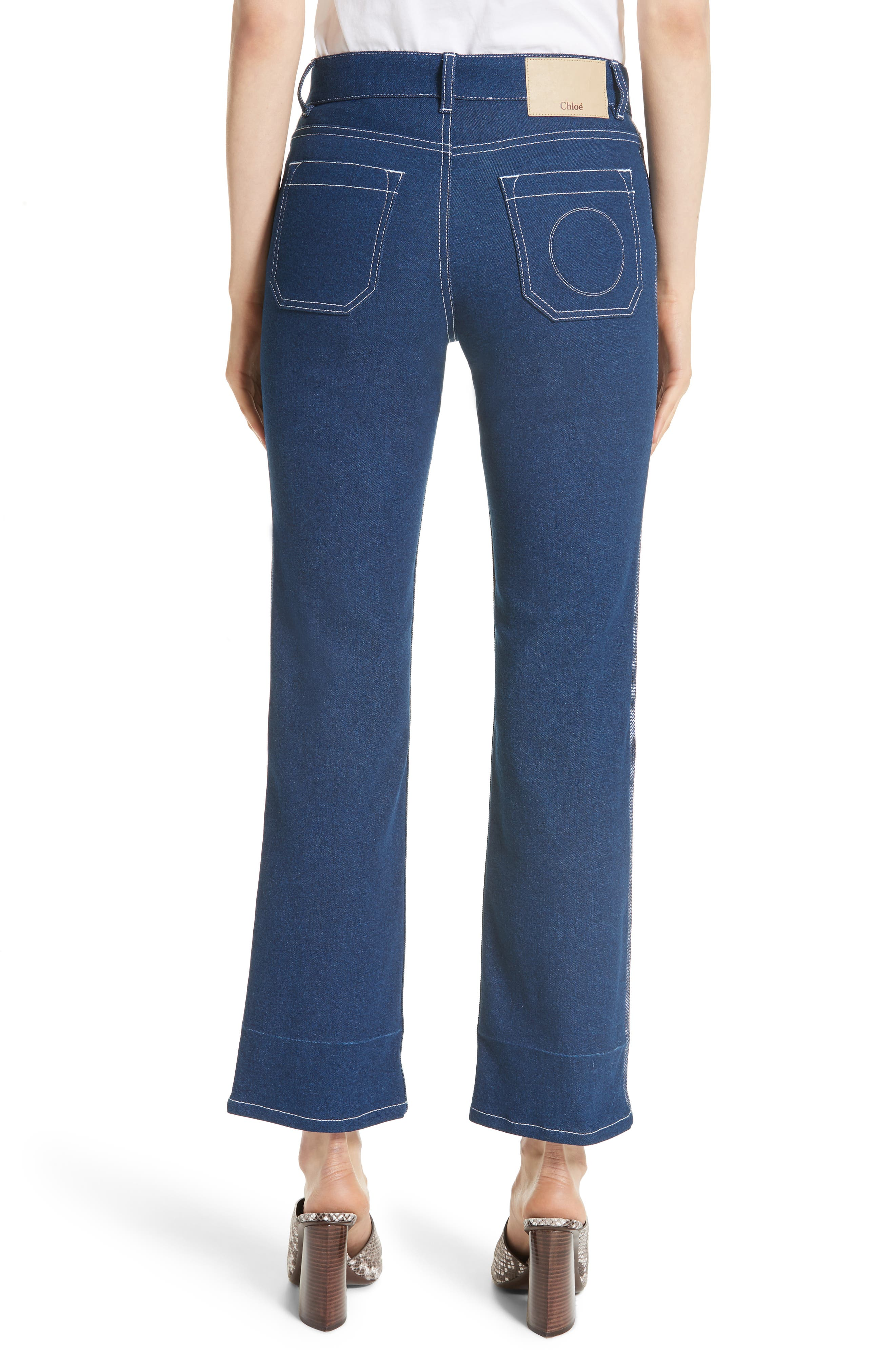 Contrast Circle Stitch Jeans,                             Alternate thumbnail 2, color,                             Ultramarine