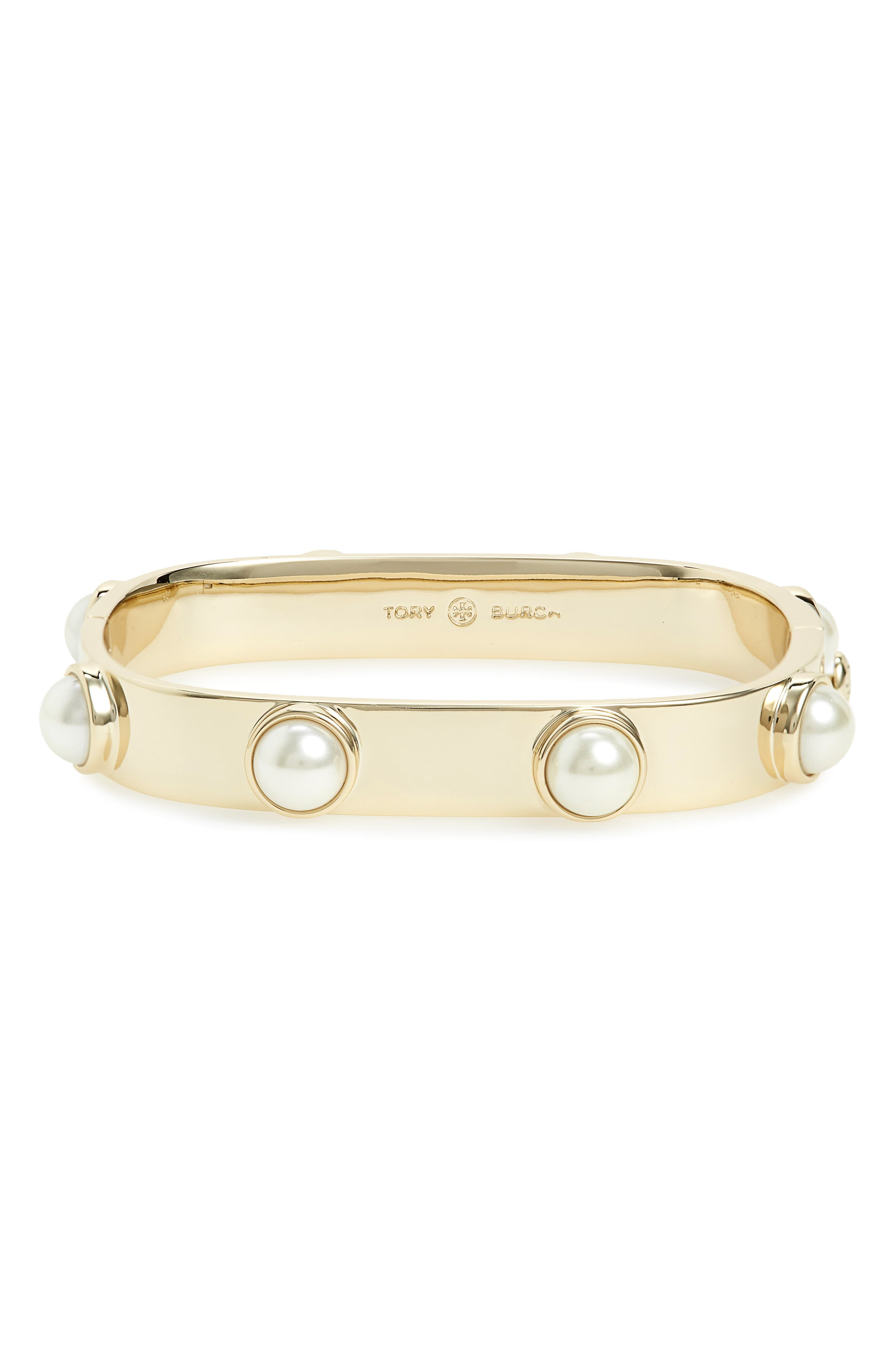 Stacked Studded Imitation Pearl Bracelet,                         Main,                         color, Tory Gold/ Tory Silver
